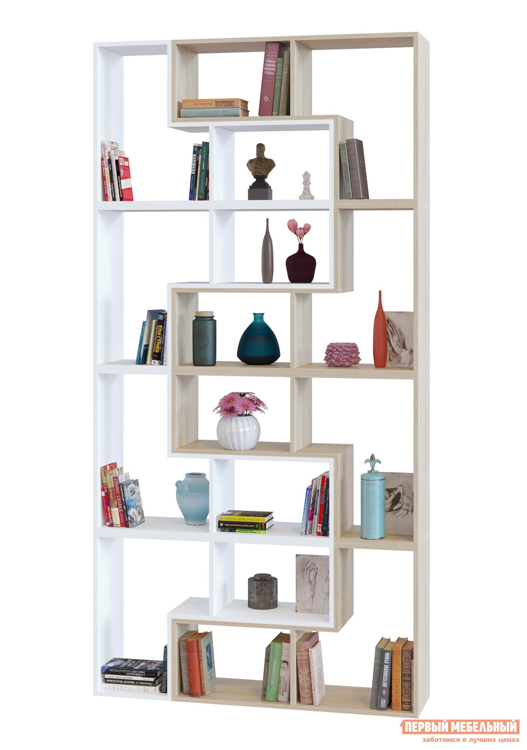 Стеллаж Сокол ПК-9, 8 шт. вариант 3 Дуб Сонома / БелыйСтеллажи<br>Габаритные размеры ВхШхГ 2400x1200x296 мм. Высокий открытый стеллаж ПК-9, 8 шт.  вариант 3 идеален для создания библиотеки в гостиной, в молодежной комнате или в домашнем кабинете.  Большое количество полок разных размеров позволяют расставить разнокалиберные книги с удобным к ним доступом.  Все корешки будут видны и вы сразу сможете найти нужное издание. Этот стеллаж можно собрать из модульных элементов четырех цветовых решений: Венге, Белый, Беленый дуб и Дуб сонома: в однотонном варианте или комбинируя цвета.  При оформлении заказа просто укажите сколько модульных деталей и в каком цвете вам потребуется, чтобы собрать уникальный стеллаж для вашего дома. Изделие выполняется из ЛДСП толщиной 16 мм, края обработаны кромкой ПВХ 0,4 мм.  Стеллаж устанавливается на пластиковые опоры. Обратите внимание! Модули стеллажа соединяются между собой с помощью межсекционных стяжек, которые входят в комплект фурнитуры.  Для соединения модулей между собой необходимо просверлить отверстия диаметром 5 мм в тех деталях, которые будут соприкасаться плоскостями.  Для сверления точных отверстий рекомендуется использовать струбцину. Стеллаж не предусмотрен для зонирования пространства.  Для устойчивости стеллаж необходимо крепить к стене при помощи монтажных уголков, которые входят в комплект фурнитуры.  При заказе услуги сборки нашими специалистами крепление к стене включено в общую стоимость сборки.   Рекомендуем сохранить инструкцию по сборке (паспорт изделия) до истечения гарантийного срока.<br><br>Цвет: Белый<br>Цвет: Светлое дерево<br>Высота мм: 2400<br>Ширина мм: 1200<br>Глубина мм: 296<br>Кол-во упаковок: 8<br>Форма поставки: В разобранном виде<br>Срок гарантии: 2 года<br>Тип: Открытые<br>Тип: Книжные<br>Тип: Напольные<br>Тип: Модульные<br>Тип: Пристенные<br>Тип: Без задней стенки<br>Назначение: Для дома<br>Назначение: Для офиса<br>Материал: ЛДСП<br>Размер: Высокие<br>Модель: ПК-9