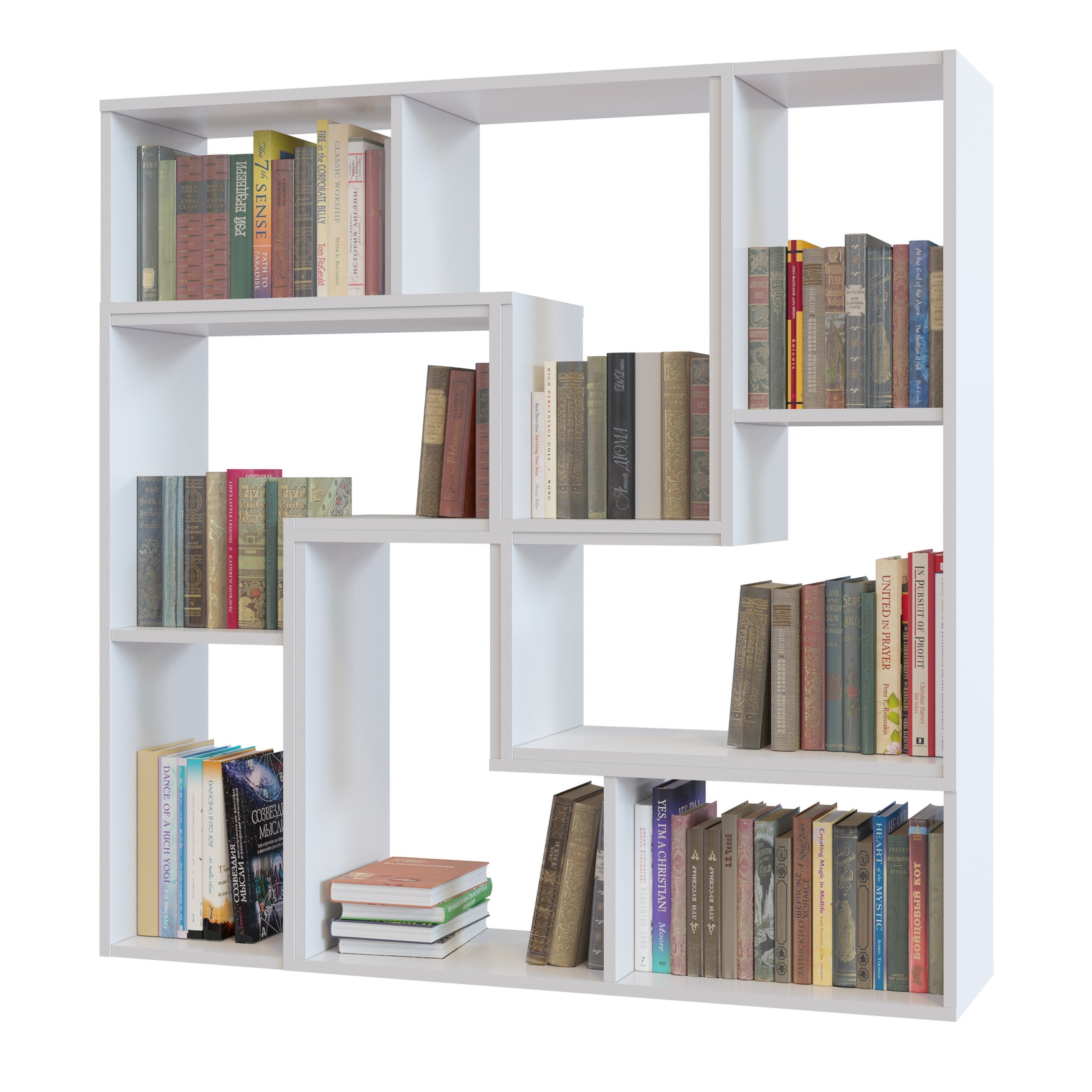 Стеллаж Сокол ПК-9, 4 шт. Вариант 1 БелыйСтеллажи для дома<br>Габаритные размеры ВхШхГ 1200x1200x296 мм. Квадратный невысокий стеллаж — это неординарный способ разнообразить обстановку в комнате.  Модель выполнена с элементами необычной внутренней геометрии, позволяющий хранить самые разные вещи и предметы: книги, альбомы, предметы интерьера, статуэтки.  В тоже время, лаконичный стиль исполнения дает возможность установить такой стеллаж практически в любом интерьере. Собрать представленный стеллаж можно из модульных элементов трех цветов: Венге, Беленый дуб и Белый: в однотонном варианте или комбинируя цвета.  При заказе требуется указать сколько элементов какого цвета понадобится для создания уникального стеллажа. Изделие выполняется из ЛДСП толщиной 16 мм, края обработаны кромкой ПВХ 0,4 мм.  Стеллаж устанавливается на пластиковые опоры. Обратите внимание! Модули стеллажа соединяются между собой с помощью межсекционных стяжек, которые входят в комплект фурнитуры.  Для соединения модулей между собой необходимо просверлить отверстия диаметром 5 мм в тех деталях, которые будут соприкасаться плоскостями.  Для сверления точных отверстий рекомендуется использовать струбцину. Для устойчивости стеллаж рекомендуется крепить к стене при помощи монтажных уголков, которые входят в комплект фурнитуры.  При заказе услуги сборки нашими специалистами крепление к стене включено в общую стоимость сборки.<br><br>Цвет: Белый<br>Цвет: Белый<br>Высота мм: 1200<br>Ширина мм: 1200<br>Глубина мм: 296<br>Кол-во упаковок: None<br>Форма поставки: В разобранном виде<br>Срок гарантии: 2 года<br>Тип: Открытые, Книжные, Модульные<br>Материал: Деревянные, из ЛДСП<br>Размер: Широкие