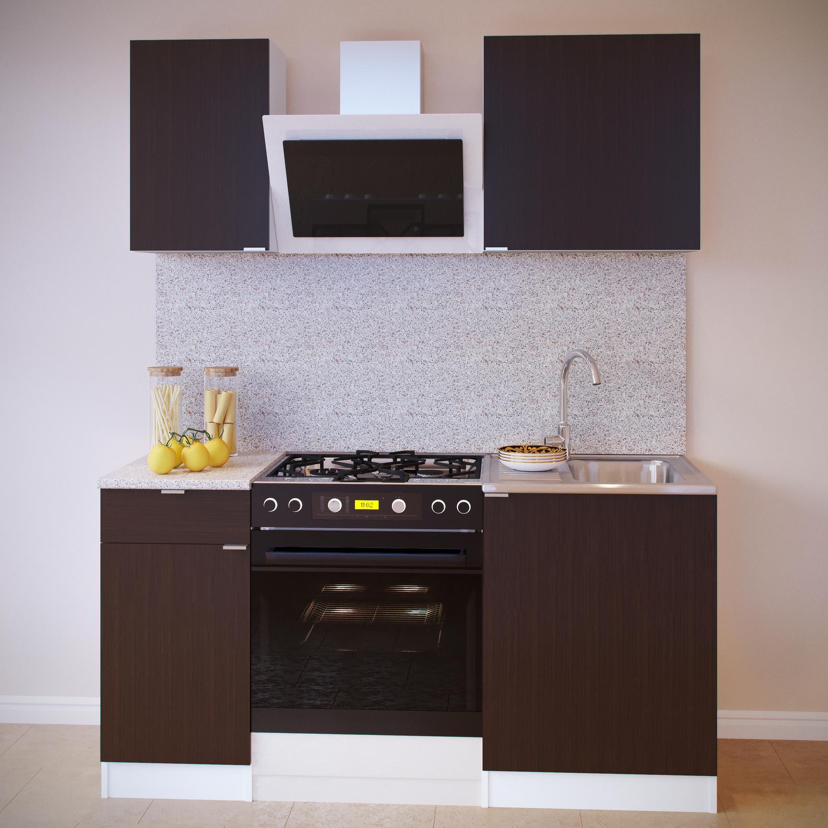 Кухонный гарнитур  ПН-04+ТК-04.1+ПН-06+ТК-06м Белый / Венге