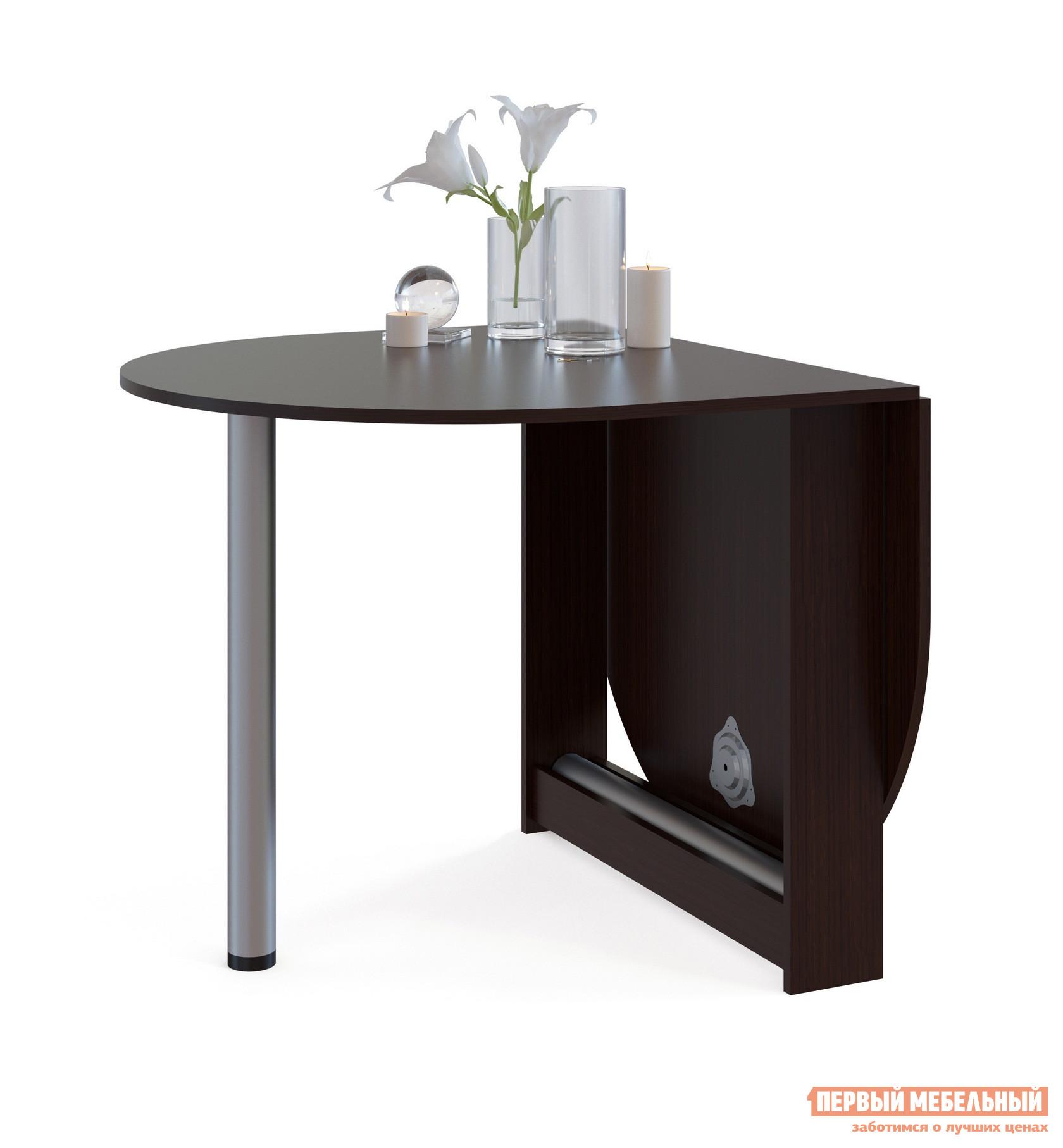 Стол-книжка Сокол СП-12 ВенгеСтолы-книжки<br>Габаритные размеры ВхШхГ 740x860 / 1548x900 мм. Небольшой овальный стол-книжка с откидной столешницей.  Модель будет удобным элементом на небольшой кухне в квартире или в дачном домике.  Отсутствие углов у столешницы снижает травмоопасность.  При необходимости размеры столешницы можно увеличить, подняв крыло и прикрутив к нему ножку.  В сложенном состоянии ножка хранится в специальной нише в основании стола. Ширина столешницы в разложенном состоянии — 1548 мм, в сложенном — 860 мм. Обратите внимание! Стол складывается только на половину.  То есть вы не сможете сложить его в узкую тумбу и спрятать. Изделие изготавливается из ЛДСП толщиной 16 мм, края обработаны кромкой ПВХ 0,4 мм.  Ножки — металлические. Рекомендуем сохранить инструкцию по сборке (паспорт изделия) до истечения гарантийного срока.<br><br>Цвет: Венге<br>Цвет: Венге<br>Высота мм: 740<br>Ширина мм: 860 / 1548<br>Глубина мм: 900<br>Кол-во упаковок: 1<br>Форма поставки: В разобранном виде<br>Срок гарантии: 2 года<br>Тип: Раскладные, Трансформер<br>Материал: Деревянные, из ЛДСП<br>Форма: Овальные<br>Размер: Маленькие<br>Особенности: С металлическими ножками