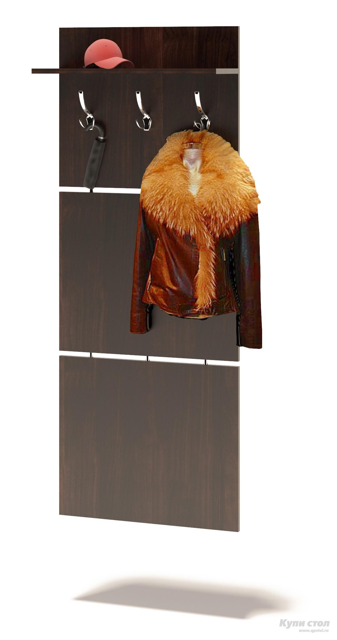 Настенная вешалка Сокол ВШ-5.1 ВенгеНастенные вешалки<br>Габаритные размеры ВхШхГ 1460x600x212 мм. Компактная навесная вешалка, выполненная в строгом стиле.  Позволит разместить сезонную одежду всей семьи.  Вешалка состоит из 3-х панелей соединенных металлическими  вставками.  Полка, закрепленная над крючками для одежды, предназначена специально для головных уборов и зонтов.  Максимальная нагрузка на полку составляет 5 кг. Изделие поставляется в разобранном виде.  Хорошо упаковано в гофротару вместе с необходимой фурнитурой для сборки и подробной инструкцией.  Данное изделие крепится к стене.   Изготовлена из высококачественной ДСП 16мм  Отделывается кромкой ПВХ 0. 4мм Рекомендуем сохранить инструкцию по сборке (паспорт изделия) до истечения гарантийного срока.<br><br>Цвет: Венге<br>Высота мм: 1460<br>Ширина мм: 600<br>Глубина мм: 212<br>Кол-во упаковок: 1<br>Форма поставки: В разобранном виде<br>Срок гарантии: 2 года