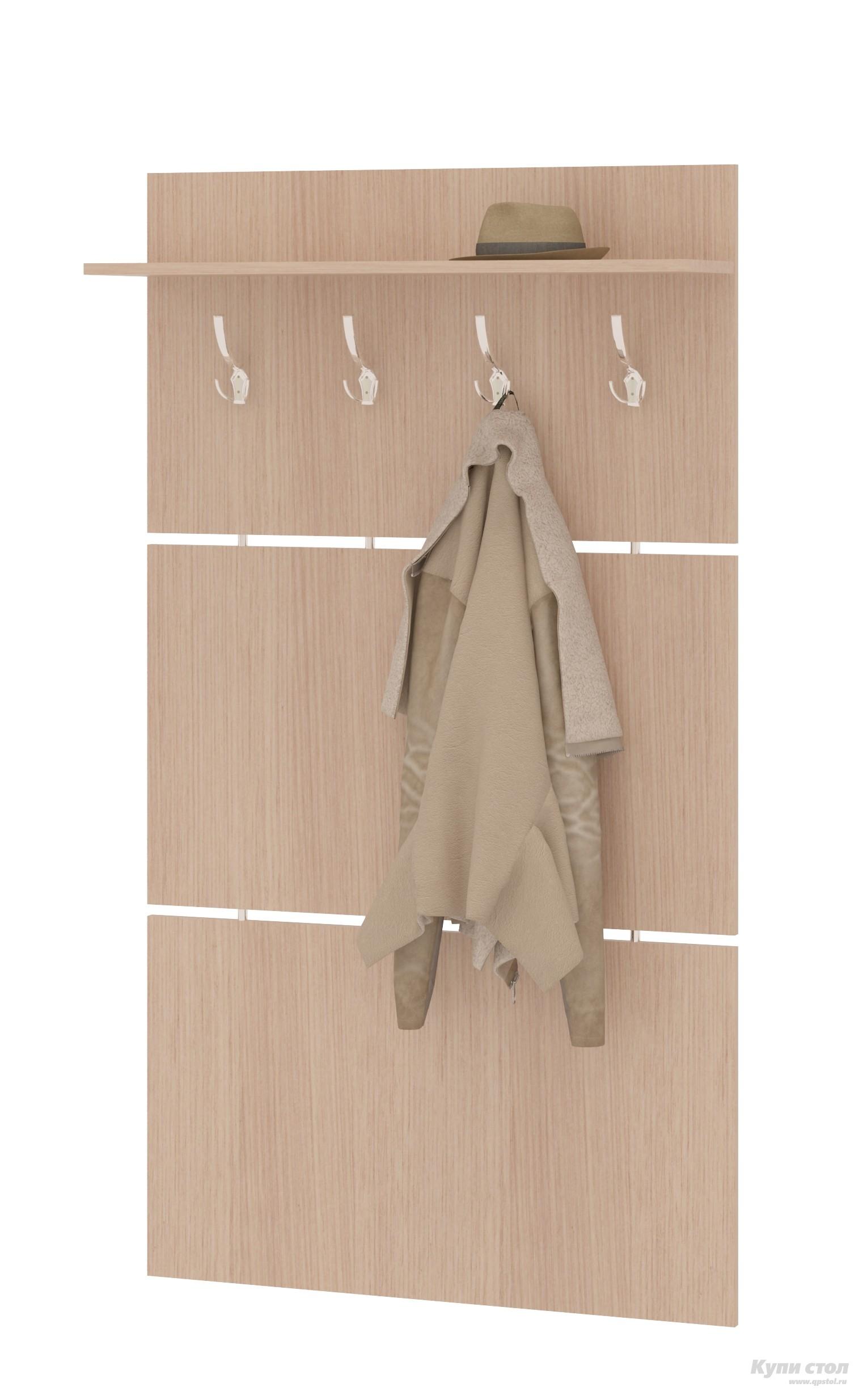 Настенная вешалка Сокол ВШ-3.1 Беленый дубНастенные вешалки<br>Габаритные размеры ВхШхГ 1460x900x212 мм. Широкая навесная вешалка, выполненная в строгом стиле, позволит разместить сезонную одежду всей семьи.  Вешалка состоит из 3-х панелей соединенных металлическими  вставками.  На верхней панели располагается четыре 3-хрожковых крючка для одежды. Полка, закрепленная над крючками, предназначена специально для головных уборов и зонтов.  Максимальная нагрузка на полку составляет 5кг. Вешалка изготовлена из высококачественной ДСП 16 мм, края отделаны кромкой ПВХ 0. 4 мм.  Рекомендуем сохранить инструкцию по сборке (паспорт изделия) до истечения гарантийного срока.<br><br>Цвет: Беленый дуб<br>Цвет: Светлое дерево<br>Высота мм: 1460<br>Ширина мм: 900<br>Глубина мм: 212<br>Кол-во упаковок: 1<br>Форма поставки: В разобранном виде<br>Срок гарантии: 2 года