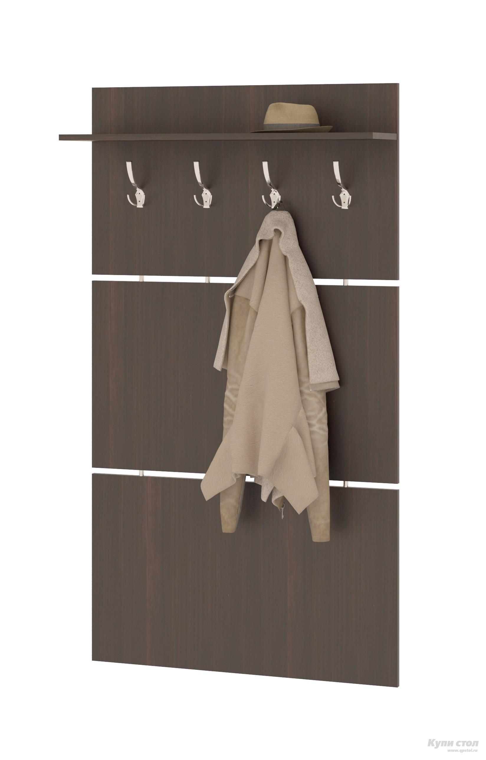 Настенная вешалка Сокол ВШ-3.1 ВенгеНастенные вешалки<br>Габаритные размеры ВхШхГ 1460x900x212 мм. Широкая навесная вешалка, выполненная в строгом стиле, позволит разместить сезонную одежду всей семьи.  Вешалка состоит из 3-х панелей соединенных металлическими  вставками.  На верхней панели располагается четыре 3-хрожковых крючка для одежды. Полка, закрепленная над крючками, предназначена специально для головных уборов и зонтов.  Максимальная нагрузка на полку составляет 5кг. Вешалка изготовлена из высококачественной ДСП 16 мм, края отделаны кромкой ПВХ 0. 4 мм.  Рекомендуем сохранить инструкцию по сборке (паспорт изделия) до истечения гарантийного срока.<br><br>Цвет: Венге<br>Цвет: Венге<br>Высота мм: 1460<br>Ширина мм: 900<br>Глубина мм: 212<br>Кол-во упаковок: 1<br>Форма поставки: В разобранном виде<br>Срок гарантии: 2 года