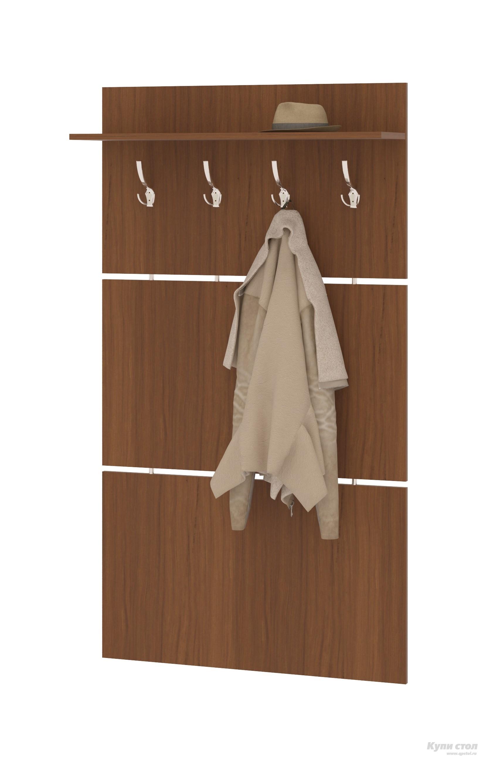 Настенная вешалка Сокол ВШ-3.1 Ноче-эккоНастенные вешалки<br>Габаритные размеры ВхШхГ 1460x900x212 мм. Широкая навесная вешалка, выполненная в строгом стиле, позволит разместить сезонную одежду всей семьи.  Вешалка состоит из 3-х панелей соединенных металлическими  вставками.  На верхней панели располагается четыре 3-хрожковых крючка для одежды. Полка, закрепленная над крючками, предназначена специально для головных уборов и зонтов.  Максимальная нагрузка на полку составляет 5кг. Вешалка изготовлена из высококачественной ДСП 16 мм, края отделаны кромкой ПВХ 0. 4 мм.  Рекомендуем сохранить инструкцию по сборке (паспорт изделия) до истечения гарантийного срока.<br><br>Цвет: Коричневое дерево<br>Высота мм: 1460<br>Ширина мм: 900<br>Глубина мм: 212<br>Кол-во упаковок: 1<br>Форма поставки: В разобранном виде<br>Срок гарантии: 2 года
