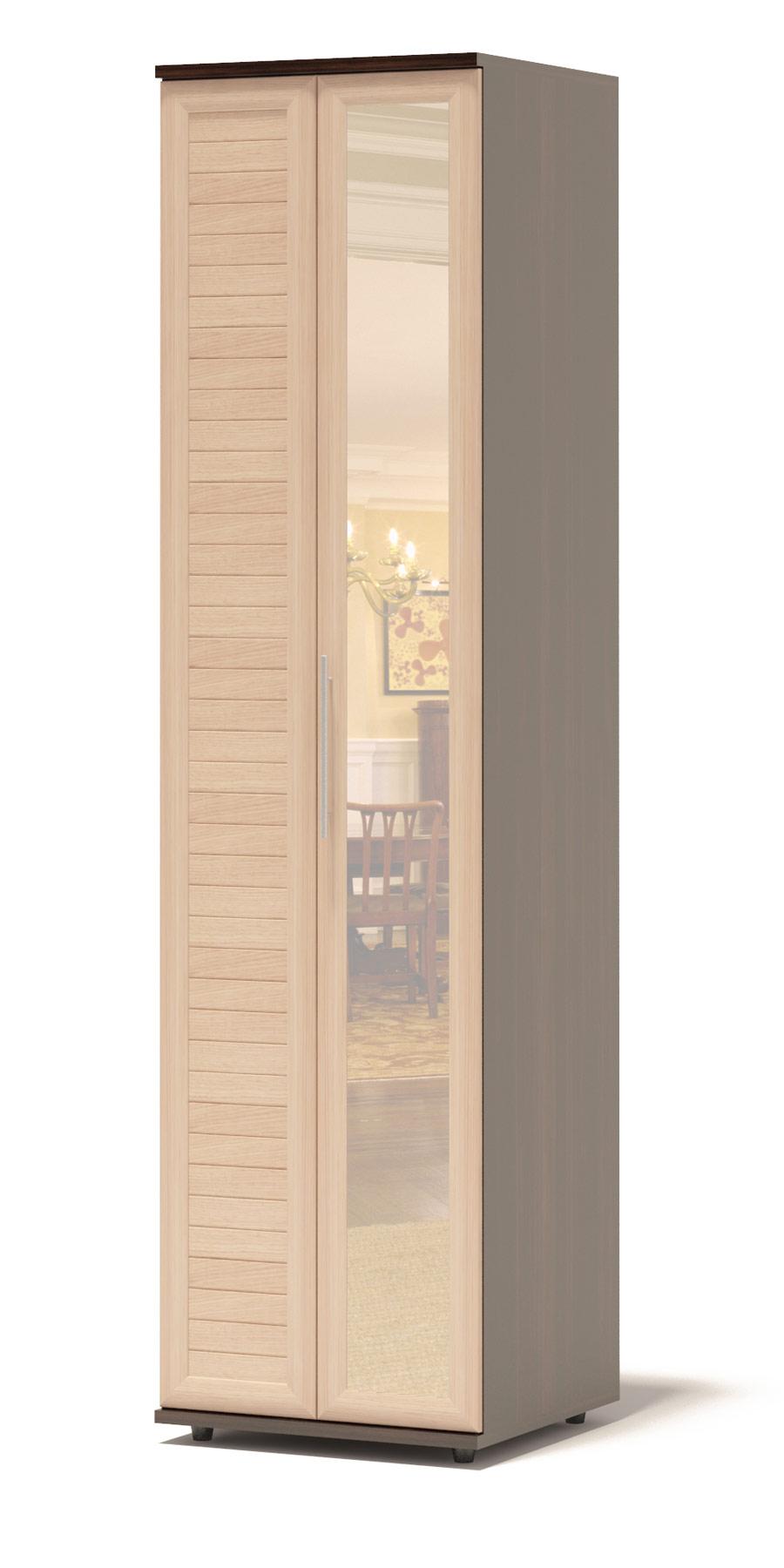 Шкаф-гармошка Сокол Аркадиа ШГ-26.3 Венге / Беленый дубШкафы-гармошки<br>Габаритные размеры ВхШхГ 2334x600x430 мм. Шкаф для одежды глубиной 430 мм.  Изделие оснащено полками и штангой шириной 600 мм.  Фасад выполнен с применением наборной планки, придающей изделию современный вид.  Дверь-гармошка открывается направо, с зеркалом.  Шкаф выполнен из высококачественного ЛДСП толщиной 16 и 22 мм и оснащен надежной импортной фурнитурой, отлично зарекомендовавшей себя в течение длительной эксплуатации. Кромка на основе ПВХ толщиной 0,4 мм защитит торцы изделий от сколов и повреждений, вызванных неосторожным обращением. Рекомендуем сохранить инструкцию по сборке (паспорт изделия) до истечения гарантийного срока.<br><br>Цвет: Темное-cветлое дерево<br>Высота мм: 2334<br>Ширина мм: 600<br>Глубина мм: 430<br>Кол-во упаковок: 4<br>Форма поставки: В разобранном виде<br>Срок гарантии: 2 года