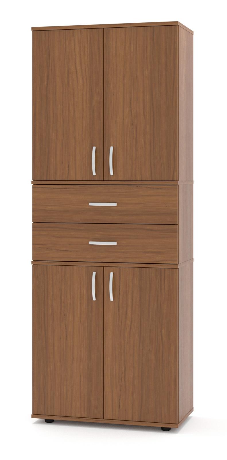 Стеллаж Сокол ШУ-24 Ноче-эккоСтеллажи для офиса<br>Габаритные размеры ВхШхГ 1827x682x372 мм. Стеллаж входит в универсальную линейку, каждая модель которой может быть дополнена дверцами (сверху и снизу) и ящиками (по центру).  Для этого на боковых стенках есть присадки (небольшие несквозные углубления), которые предназначены для крепления дверей и ящиков.  В каталоге вы можете выбрать наиболее подходящую комплектацию.  Модель ШУ-24 полностью закрытая, поставляется с верхними и нижними дверками, и двумя ящиками. Изделие оснащено пластиковыми ножками, предотвращающими размокание ДСП вследствие влажной уборки напольного покрытия. Ручки на дверях и ящиках пластиковые.  Обратите внимание! Задняя стенка стеллажа с внутренней стороны выполнена из ДВП серого цвета. Корпус и полки стеллажа изготовлены из качественного ламинированного ДСП толщиной 16 мм, самого популярного материала для производства корпусной мебели, обеспечивающего необходимую прочность и долговечность деталей. Изделие поставляется в разобранном виде.  Хорошо упаковано в гофротару вместе с необходимой фурнитурой для сборки и подробной инструкцией.  Рекомендуем сохранить инструкцию по сборке (паспорт изделия) до истечения гарантийного срока.<br><br>Цвет: Ноче-экко<br>Цвет: Коричневое дерево<br>Высота мм: 1827<br>Ширина мм: 682<br>Глубина мм: 372<br>Кол-во упаковок: 4<br>Форма поставки: В разобранном виде<br>Срок гарантии: 24 месяца<br>Тип: Закрытые<br>Материал: Деревянные, из ЛДСП<br>Размер: Узкие<br>Особенности: С ящиками