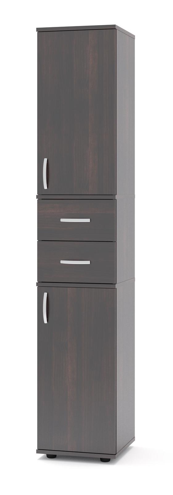 Стеллаж Сокол ШУ-14 ВенгеСтеллажи для офиса<br>Габаритные размеры ВхШхГ 1827x342x372 мм. Стеллаж входит в универсальную линейку, каждая модель которой может быть дополнена дверцами (сверху и снизу) и ящиками (по центру).  Для этого на боковых стенках есть присадки (небольшие несквозные углубления), которые предназначены для крепления дверей и ящиков.  В каталоге вы можете выбрать наиболее подходящую комплектацию.  Модель ШУ-14 полностью закрыта, поставляется с верхними и нижними дверками, и двумя ящиками. Изделие оснащено пластиковыми ножками, предотвращающими размокание ДСП вследствие влажной уборки напольного покрытия. Ручки на дверках и ящиках пластиковые.  Стеллаж универсальный, дверцы могут открываться как на правую, так и на левую сторону. Обратите внимание! Задняя стенка стеллажа с внутренней стороны выполнена из ДВП серого цвета. Корпус и полки стеллажа изготовлены из качественного ламинированного ДСП толщиной 16 мм, самого популярного материала для производства корпусной мебели, обеспечивающего необходимую прочность и долговечность деталей. Изделие поставляется в разобранном виде.  Хорошо упаковано в гофротару вместе с необходимой фурнитурой для сборки и подробной инструкцией.  Рекомендуем сохранить инструкцию по сборке (паспорт изделия) до истечения гарантийного срока.<br><br>Цвет: Венге<br>Цвет: Венге<br>Высота мм: 1827<br>Ширина мм: 342<br>Глубина мм: 372<br>Кол-во упаковок: 3<br>Форма поставки: В разобранном виде<br>Срок гарантии: 24 месяца<br>Тип: Закрытые<br>Материал: Деревянные, из ЛДСП<br>Размер: Узкие<br>Особенности: С ящиками, Дешевые