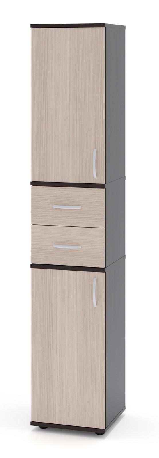 Стеллаж Сокол ШУ-14 Корпус Венге / Фасад Беленый дубСтеллажи для офиса<br>Габаритные размеры ВхШхГ 1827x342x372 мм. Стеллаж входит в универсальную линейку, каждая модель которой может быть дополнена дверцами (сверху и снизу) и ящиками (по центру).  Для этого на боковых стенках есть присадки (небольшие несквозные углубления), которые предназначены для крепления дверей и ящиков.  В каталоге вы можете выбрать наиболее подходящую комплектацию.  Модель ШУ-14 полностью закрыта, поставляется с верхними и нижними дверками, и двумя ящиками. Изделие оснащено пластиковыми ножками, предотвращающими размокание ДСП вследствие влажной уборки напольного покрытия. Ручки на дверках и ящиках пластиковые.  Стеллаж универсальный, дверцы могут открываться как на правую, так и на левую сторону. Обратите внимание! Задняя стенка стеллажа с внутренней стороны выполнена из ДВП серого цвета. Корпус и полки стеллажа изготовлены из качественного ламинированного ДСП толщиной 16 мм, самого популярного материала для производства корпусной мебели, обеспечивающего необходимую прочность и долговечность деталей. Изделие поставляется в разобранном виде.  Хорошо упаковано в гофротару вместе с необходимой фурнитурой для сборки и подробной инструкцией.  Рекомендуем сохранить инструкцию по сборке (паспорт изделия) до истечения гарантийного срока.<br><br>Цвет: Корпус Венге / Фасад Беленый дуб<br>Цвет: Темное-cветлое дерево<br>Высота мм: 1827<br>Ширина мм: 342<br>Глубина мм: 372<br>Кол-во упаковок: 3<br>Форма поставки: В разобранном виде<br>Срок гарантии: 24 месяца<br>Тип: Закрытые<br>Материал: Деревянные, из ЛДСП<br>Размер: Узкие<br>Особенности: С ящиками, Дешевые