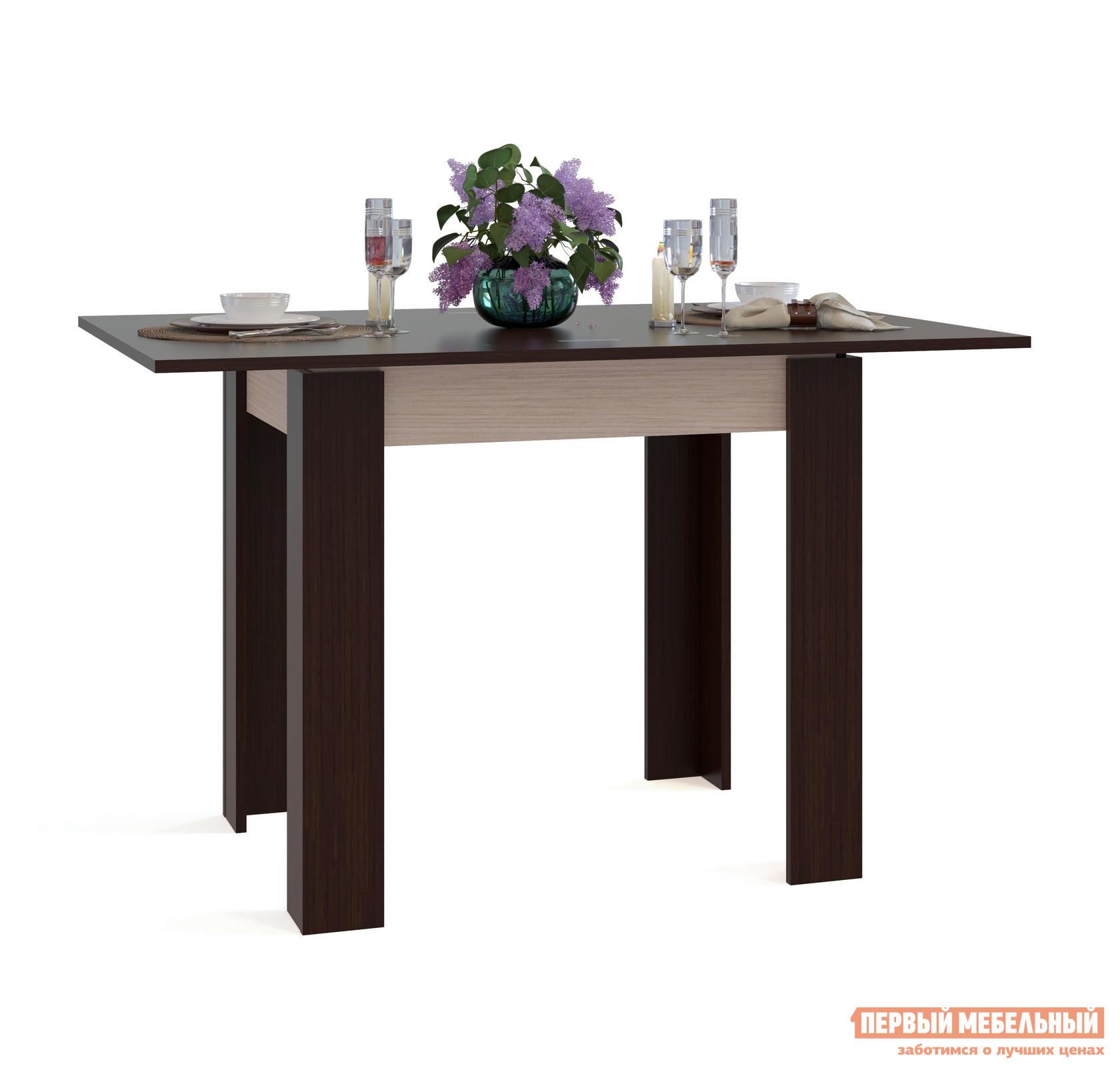 Кухонный стол Сокол СО-1 Подстолье Беленый дуб / Столешница, ножки Венге
