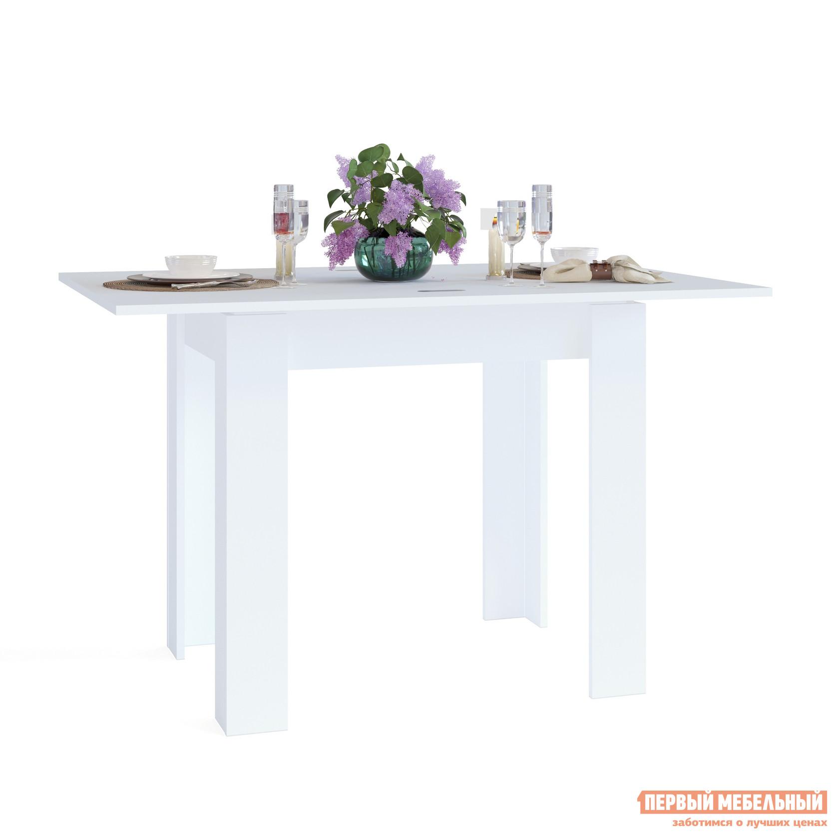 Кухонный стол Сокол СО-1 БелыйКухонные столы<br>Габаритные размеры ВхШхГ 772 / 756x800 / 1200x600 / 800 мм. Небольшой обеденный стол, выполненный в контрастных оттенках.  Оригинальное угловое оформление ножек создает эффект массивности стола.  Модель будет отлично смотреться как в классическом интерьере, так и в современной обстановке кухни. Стол оборудован раскладным механизмом, который увеличивает ширину столешницы до 1200 мм.  Чтобы разложить стол, нужно отодвинуть столешницу, повернуть ее на 90 градусов и раскрыть как книжку.  Легко и удобно. Изделие изготавливается из ЛДСП толщиной 16 мм. Столешница обработана кромкой ПВХ толщиной 2 мм, остальные детали в кромке ПВХ 0,4 мм. Рекомендуем сохранить инструкцию по сборке (паспорт изделия) до истечения гарантийного срока.<br><br>Цвет: Белый<br>Высота мм: 772 / 756<br>Ширина мм: 800 / 1200<br>Глубина мм: 600 / 800<br>Кол-во упаковок: 1<br>Форма поставки: В разобранном виде<br>Срок гарантии: 2 года<br>Тип: Раскладные<br>Тип: Трансформер<br>Материал: Дерево<br>Материал: ЛДСП<br>Форма: Прямоугольные<br>Размер: Маленькие