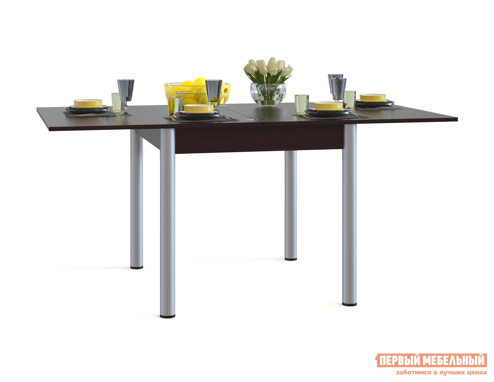 Кухонный стол Сокол СО-2м ВенгеКухонные столы<br>Габаритные размеры ВхШхГ 772 / 756x800 / 1600x900 мм. Классический обеденный стол на металлических ножках.  Модель прекрасно подойдет для небольшой кухни за счет компактных размеров. Стол оборудован раскладным механизмом, который позволяет увеличить столешницу до 1600 мм.  Чтобы разложить стол, нужно отодвинуть столешницу в сторону и раскрыть как книжку.  Легко и практично. Обратите внимание! В разложенном состоянии петли будут на поверхности столешницы. Столешница и подстолье изготавливаются из ЛДСП толщиной 16 мм.  Края столешницы обработаны кромкой ПВХ 2 мм, остальные детали — ПВХ 0,4 мм.  Ножки — металлические.<br><br>Цвет: Венге<br>Цвет: Венге<br>Высота мм: 772 / 756<br>Ширина мм: 800 / 1600<br>Глубина мм: 900<br>Кол-во упаковок: 1<br>Форма поставки: В разобранном виде<br>Срок гарантии: 2 года<br>Тип: Раскладные, Трансформер<br>Материал: Деревянные, из ЛДСП<br>Форма: Прямоугольные<br>Размер: Маленькие<br>Особенности: С металлическими ножками