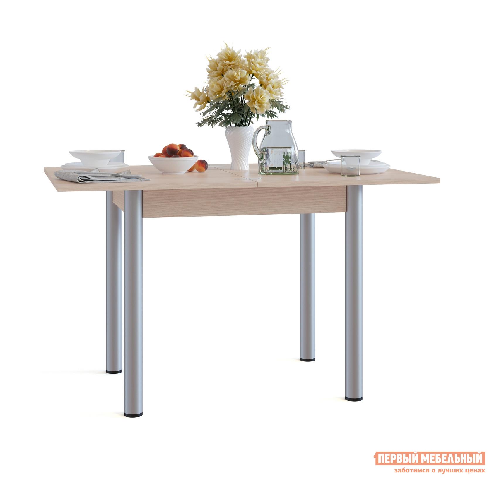 Кухонный стол Сокол СО-1м Беленый дубКухонные столы<br>Габаритные размеры ВхШхГ 772 / 756x800 / 1200x600 / 800 мм. Раскладной обеденный стол с компактными размерами идеально пойдет для маленькой кухни.  В сложенном виде размеры столешницы составляют всего 800х600 мм.  Лаконичный стиль исполнения делает модель универсальной для любого интерьера. Стол оснащен раскладным механизмом, который увеличивает ширину столешницы до 1200 мм.  Чтобы разложить стол, нужно отодвинуть столешницу, повернуть ее на 90 градусов и раскрыть как книжку.  Удобно и просто. Обратите внимание! В разложенном состоянии петли находятся на поверхности столешницы. Столешница и подстолье изготавливаются из ЛДСП толщиной 16 мм.  Края столешницы обработаны кромкой ПВХ 2 мм, остальные детали — ПВХ 0,4 мм.  Ножки — металлические.<br><br>Цвет: Беленый дуб<br>Цвет: Светлое дерево<br>Высота мм: 772 / 756<br>Ширина мм: 800 / 1200<br>Глубина мм: 600 / 800<br>Кол-во упаковок: 1<br>Форма поставки: В разобранном виде<br>Срок гарантии: 2 года<br>Тип: Раскладные, Трансформер<br>Материал: Деревянные, из ЛДСП<br>Форма: Прямоугольные<br>Размер: Маленькие<br>Особенности: С металлическими ножками