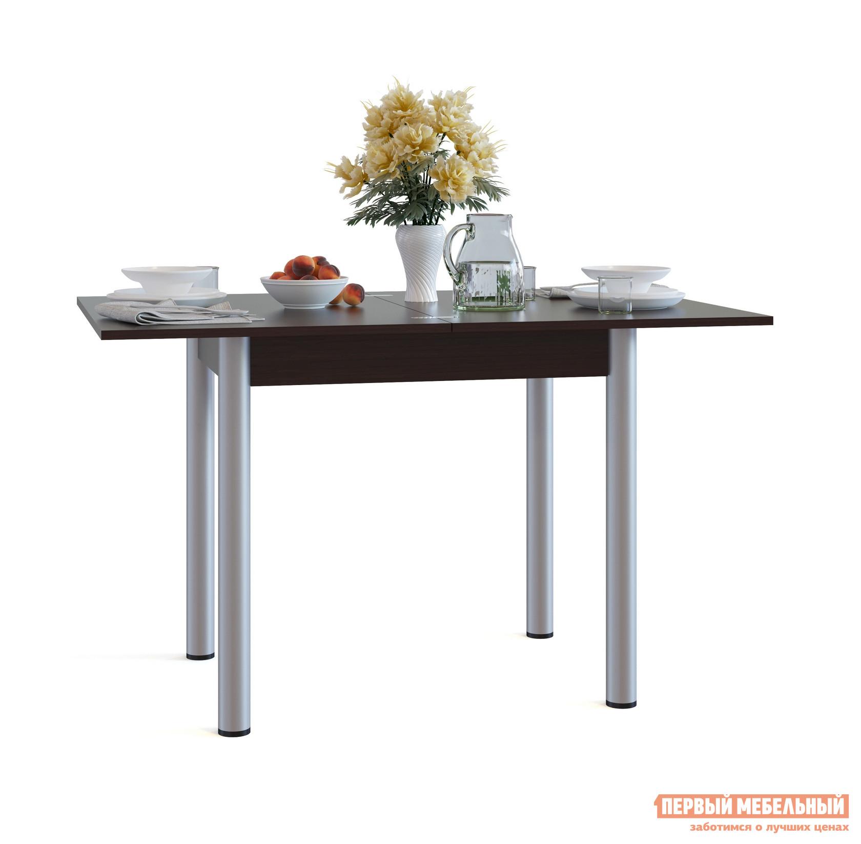 Кухонный стол Сокол СО-1м ВенгеКухонные столы<br>Габаритные размеры ВхШхГ 772 / 756x800 / 1200x600 / 800 мм. Раскладной обеденный стол с компактными размерами идеально пойдет для маленькой кухни.  В сложенном виде размеры столешницы составляют всего 800х600 мм.  Лаконичный стиль исполнения делает модель универсальной для любого интерьера. Стол оснащен раскладным механизмом, который увеличивает ширину столешницы до 1200 мм.  Чтобы разложить стол, нужно отодвинуть столешницу, повернуть ее на 90 градусов и раскрыть как книжку.  Удобно и просто. Обратите внимание! В разложенном состоянии петли находятся на поверхности столешницы. Столешница и подстолье изготавливаются из ЛДСП толщиной 16 мм.  Края столешницы обработаны кромкой ПВХ 2 мм, остальные детали — ПВХ 0,4 мм.  Ножки — металлические.<br><br>Цвет: Венге<br>Цвет: Венге<br>Высота мм: 772 / 756<br>Ширина мм: 800 / 1200<br>Глубина мм: 600 / 800<br>Кол-во упаковок: 1<br>Форма поставки: В разобранном виде<br>Срок гарантии: 2 года<br>Тип: Раскладные, Трансформер<br>Материал: Деревянные, из ЛДСП<br>Форма: Прямоугольные<br>Размер: Маленькие<br>Особенности: С металлическими ножками