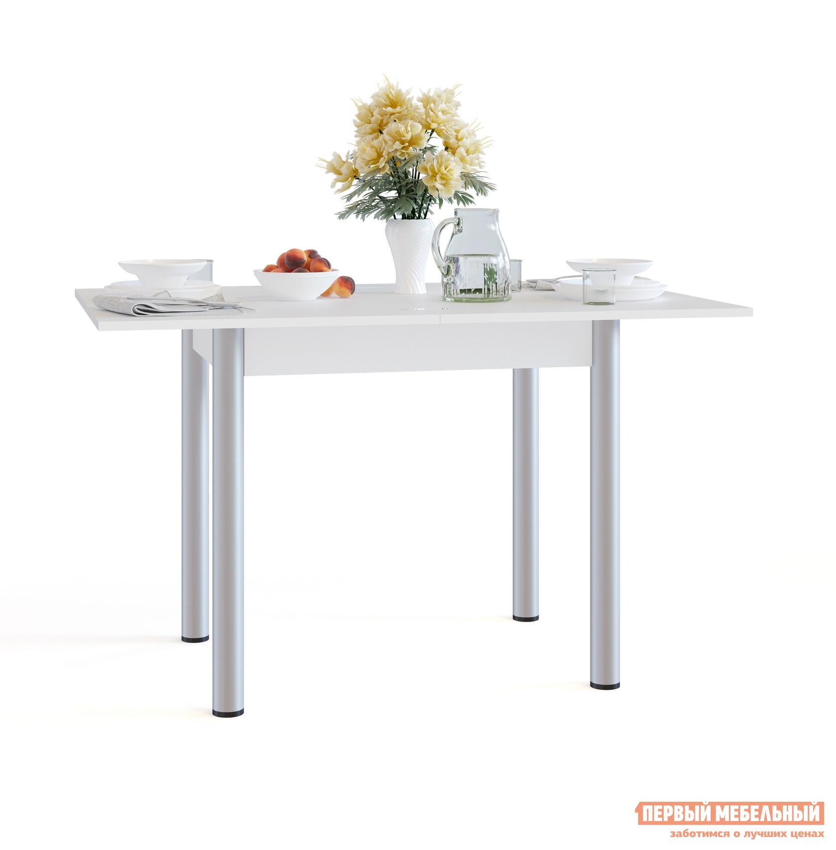 Кухонный стол Сокол СО-1м БелыйКухонные столы<br>Габаритные размеры ВхШхГ 772 / 756x800 / 1200x600 / 800 мм. Раскладной обеденный стол с компактными размерами идеально пойдет для маленькой кухни.  В сложенном виде размеры столешницы составляют всего 800х600 мм.  Лаконичный стиль исполнения делает модель универсальной для любого интерьера. Стол оснащен раскладным механизмом, который увеличивает ширину столешницы до 1200 мм.  Чтобы разложить стол, нужно отодвинуть столешницу, повернуть ее на 90 градусов и раскрыть как книжку.  Удобно и просто. Обратите внимание! В разложенном состоянии петли находятся на поверхности столешницы. Столешница и подстолье изготавливаются из ЛДСП толщиной 16 мм.  Края столешницы обработаны кромкой ПВХ 2 мм, остальные детали — ПВХ 0,4 мм.  Ножки — металлические. Рекомендуем сохранить инструкцию по сборке (паспорт изделия) до истечения гарантийного срока.<br><br>Цвет: Белый<br>Высота мм: 772 / 756<br>Ширина мм: 800 / 1200<br>Глубина мм: 600 / 800<br>Кол-во упаковок: 1<br>Форма поставки: В разобранном виде<br>Срок гарантии: 2 года<br>Тип: Раскладные<br>Тип: Трансформер<br>Материал: Дерево<br>Материал: ЛДСП<br>Форма: Прямоугольные<br>Размер: Маленькие<br>С металлическими ножками: Да