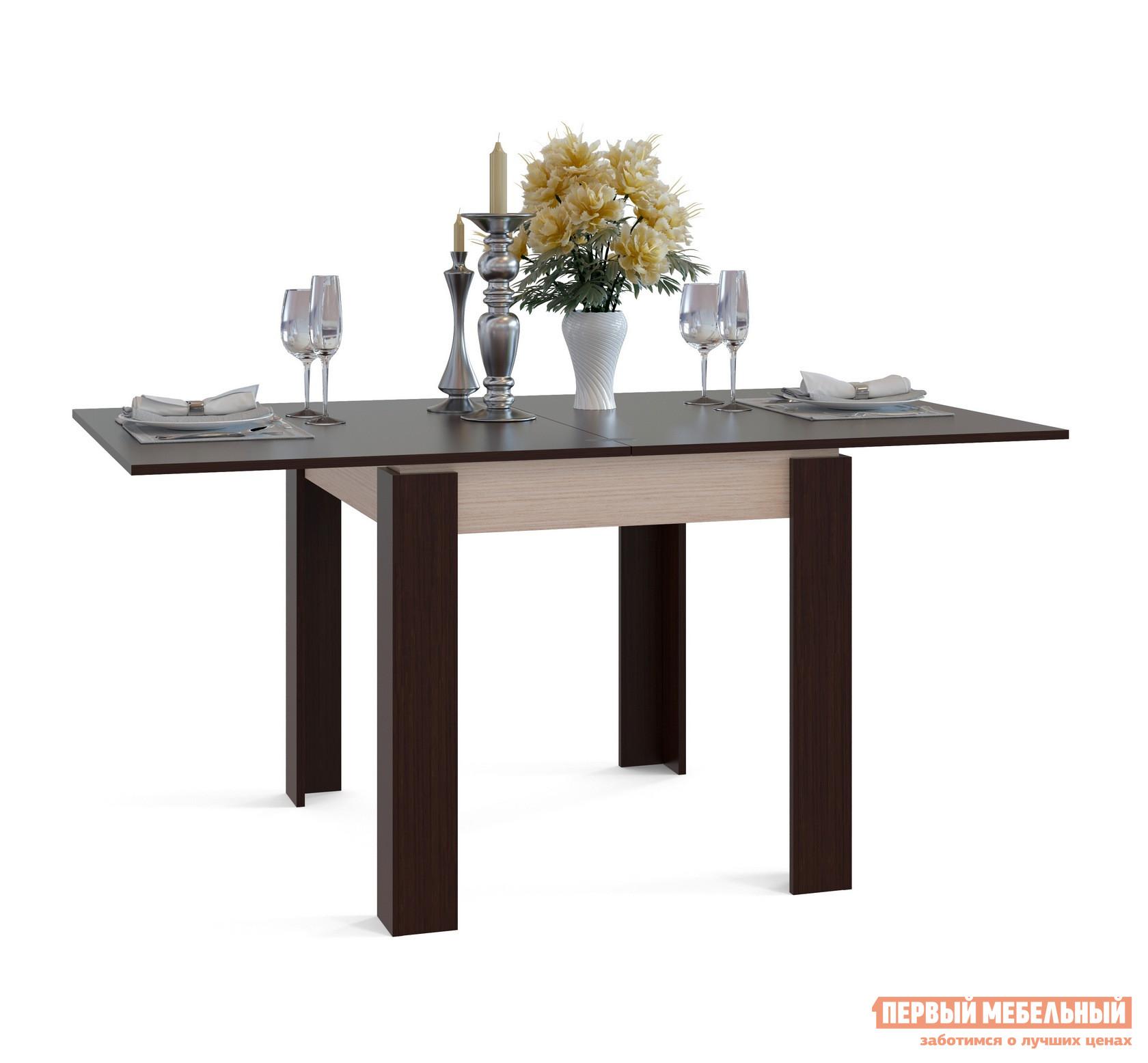 Кухонный стол Сокол СО-2 Подстолье Беленый дуб / Столешница, ножки ВенгеКухонные столы<br>Габаритные размеры ВхШхГ 772 / 756x800 / 1600x900  мм. Стильный обеденный стол, выполненный в сочетании контрастных оттенков.  Модель привлекает внимание оригинальным угловым оформлением ножек, которое создает ощущение массивности и уюта.  Лаконичный дизайн стола делает его универсальным элементом как для классического, так и современного интерьера кухни. Стол оборудован раскладным механизмом, который увеличивает ширину столешницы до 1600 мм.  Чтобы разложить стол, нужно отодвинуть столешницу и раскрыть ее как книжку.  Легко и удобно. Изделие изготавливается из ЛДСП толщиной 16 мм. Столешница обработана кромкой ПВХ толщиной 2 мм, остальные детали в кромке ПВХ 0,4 мм. Рекомендуем сохранить инструкцию по сборке (паспорт изделия) до истечения гарантийного срока.<br><br>Цвет: Подстолье Беленый дуб / Столешница, ножки Венге<br>Цвет: Темное-cветлое дерево<br>Высота мм: 772 / 756<br>Ширина мм: 800 / 1600<br>Глубина мм: 900<br>Кол-во упаковок: 1<br>Форма поставки: В разобранном виде<br>Срок гарантии: 2 года<br>Тип: Раскладные, Трансформер<br>Материал: Деревянные, из ЛДСП<br>Форма: Прямоугольные<br>Размер: Маленькие