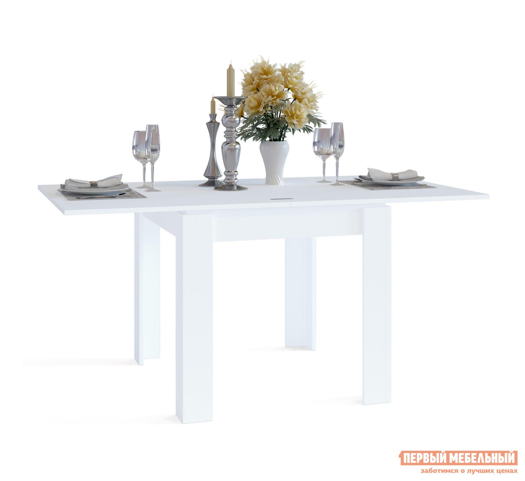 Кухонный стол Сокол СО-2 БелыйКухонные столы<br>Габаритные размеры ВхШхГ 772 / 756x800 / 1600x900  мм. Стильный обеденный стол, выполненный в сочетании контрастных оттенков.  Модель привлекает внимание оригинальным угловым оформлением ножек, которое создает ощущение массивности и уюта.  Лаконичный дизайн стола делает его универсальным элементом как для классического, так и современного интерьера кухни. Стол оборудован раскладным механизмом, который увеличивает ширину столешницы до 1600 мм.  Чтобы разложить стол, нужно отодвинуть столешницу и раскрыть ее как книжку.  Легко и удобно. Изделие изготавливается из ЛДСП толщиной 16 мм. Столешница обработана кромкой ПВХ толщиной 2 мм, остальные детали в кромке ПВХ 0,4 мм. Рекомендуем сохранить инструкцию по сборке (паспорт изделия) до истечения гарантийного срока.<br><br>Цвет: Белый<br>Высота мм: 772 / 756<br>Ширина мм: 800 / 1600<br>Глубина мм: 900<br>Кол-во упаковок: 1<br>Форма поставки: В разобранном виде<br>Срок гарантии: 2 года<br>Тип: Раскладные<br>Тип: Трансформер<br>Материал: Дерево<br>Материал: ЛДСП<br>Форма: Прямоугольные<br>Размер: Маленькие