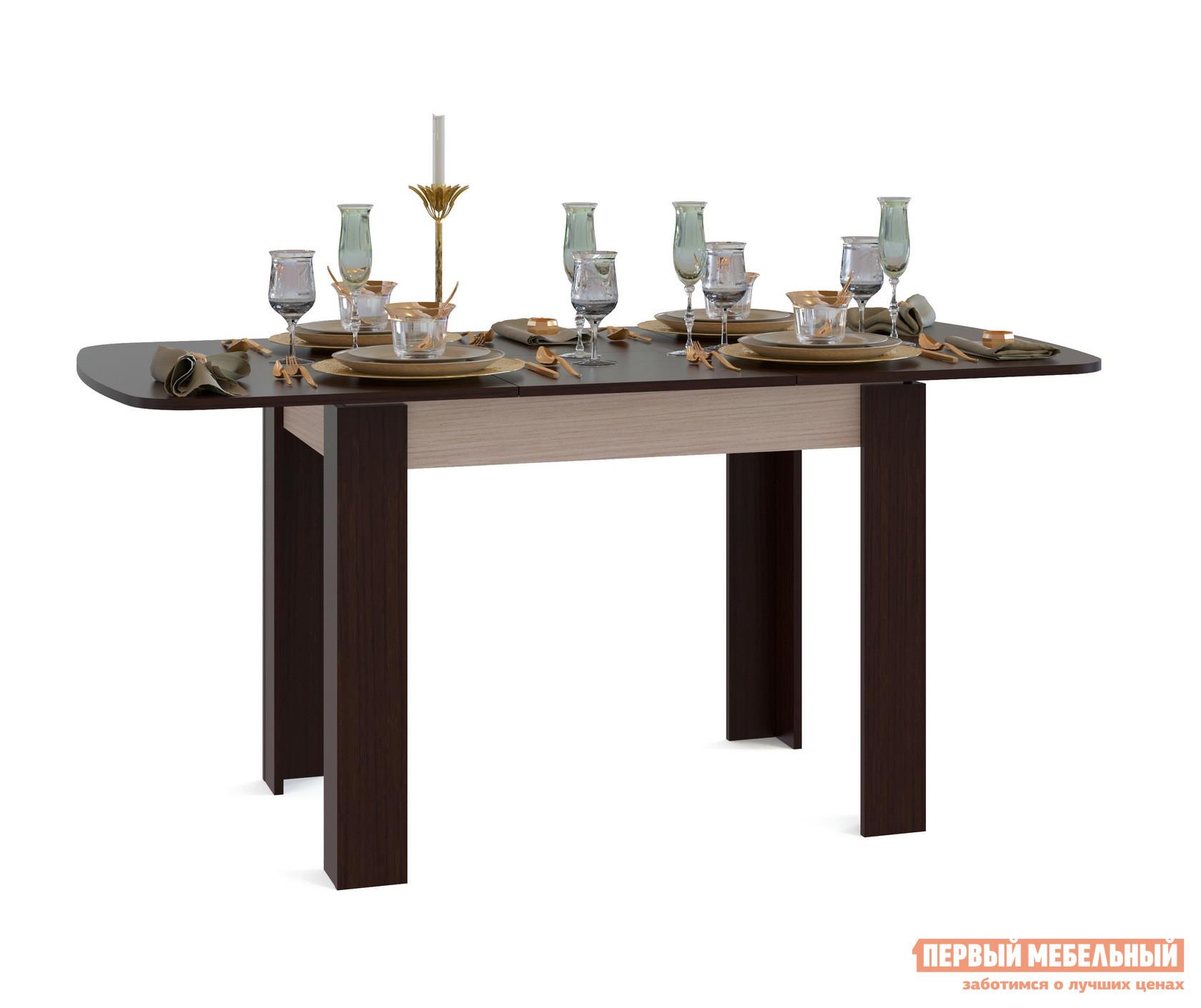 Кухонный стол Сокол СО-3 Подстолье Беленый дуб / Столешница, ножки ВенгеКухонные столы<br>Габаритные размеры ВхШхГ 756x1200 / 1646x800 мм. Большой обеденный стол в стильных контрастных оттенках.  Угловое оформление ножек делает стол устойчивым и надежным в использовании, а закругленные края столешницы снижают травмоопасность.  Модель современна и лаконична, она будет гармоничным дополнением практически любого интерьера кухни. Стол оборудован раскладным механизмом «бабочка», который позволяет увеличит размеры столешницы до 1646 мм за счет дополнительной вставки размером 446 мм.  В сложенном состоянии вставка храниться внутри стола. Изделие изготавливается из ЛДСП толщиной 16 мм. Столешница обработана кромкой ПВХ толщиной 2 мм, остальные детали в кромке ПВХ 0,4 мм. Рекомендуем сохранить инструкцию по сборке (паспорт изделия) до истечения гарантийного срока.<br><br>Цвет: Подстолье Беленый дуб / Столешница, ножки Венге<br>Цвет: Темное-cветлое дерево<br>Высота мм: 756<br>Ширина мм: 1200 / 1646<br>Глубина мм: 800<br>Кол-во упаковок: 1<br>Форма поставки: В разобранном виде<br>Срок гарантии: 2 года<br>Тип: Раскладные, Трансформер<br>Материал: Деревянные, из ЛДСП<br>Форма: Овальные<br>Размер: Маленькие