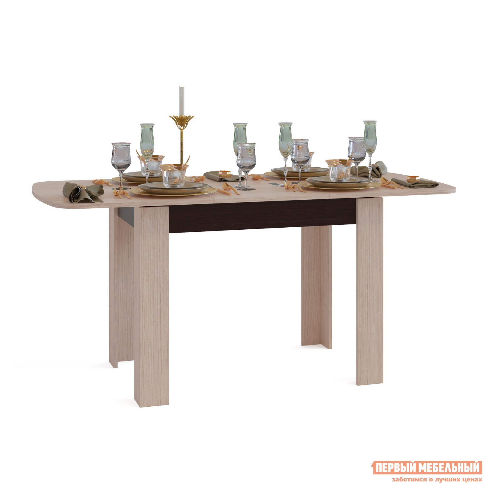 Кухонный стол Сокол СО-3 Подстолье Венге / Столешница, ножки Беленый дубКухонные столы<br>Габаритные размеры ВхШхГ 756x1200 / 1646x800 мм. Большой обеденный стол в стильных контрастных оттенках.  Угловое оформление ножек делает стол устойчивым и надежным в использовании, а закругленные края столешницы снижают травмоопасность.  Модель современна и лаконична, она будет гармоничным дополнением практически любого интерьера кухни. Стол оборудован раскладным механизмом «бабочка», который позволяет увеличит размеры столешницы до 1646 мм за счет дополнительной вставки размером 446 мм.  В сложенном состоянии вставка храниться внутри стола. Обратите внимание! В разложенном состоянии петли находятся на поверхности столешницы. Изделие изготавливается из ЛДСП толщиной 16 мм. Столешница обработана кромкой ПВХ толщиной 2 мм, остальные детали в кромке ПВХ 0,4 мм. Рекомендуем сохранить инструкцию по сборке (паспорт изделия) до истечения гарантийного срока.<br><br>Цвет: Темное-cветлое дерево<br>Высота мм: 756<br>Ширина мм: 1200 / 1646<br>Глубина мм: 800<br>Кол-во упаковок: 1<br>Форма поставки: В разобранном виде<br>Срок гарантии: 2 года<br>Тип: Раскладные<br>Тип: Трансформер<br>Материал: Дерево<br>Материал: ЛДСП<br>Форма: Овальные<br>Размер: Маленькие