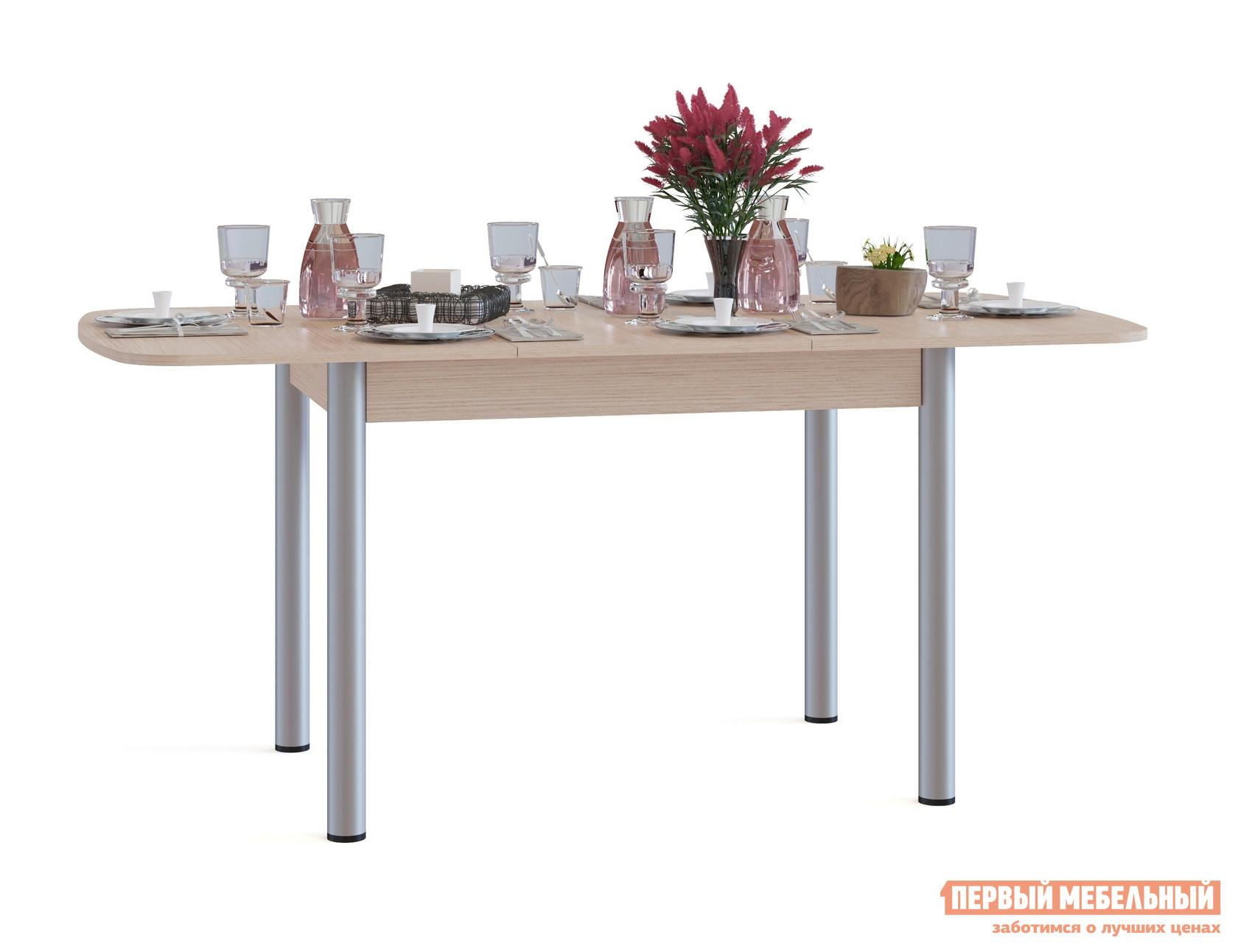 Кухонный стол Сокол СО-3м Беленый дубКухонные столы<br>Габаритные размеры ВхШхГ 756x1200 / 1646x800 мм. Овальный раскладной обеденный стол на металлических ножках.  Идеальный вариант для кухни как дома, так и на даче.  Модель оборудована раздвижным механизмом «бабочка», благодаря которому, за счет дополнительной вставки размером 446 мм, ширина столешницы увеличивается до 1646 мм.  В сложенном состоянии вставка хранится в столе.  Чтобы разложить стол, нужно раздвинуть столешницу в стороны, достать вставку и раскрыть ее между частями столешницами. Обратите внимание! В разложенном состоянии петли находятся на поверхности столешницы. Изделие изготавливается из ЛДСП толщиной 16 мм. Столешница обработана кромкой ПВХ толщиной 2 мм, остальные детали в кромке ПВХ 0,4 мм. Рекомендуем сохранить инструкцию по сборке (паспорт изделия) до истечения гарантийного срока.<br><br>Цвет: Светлое дерево<br>Высота мм: 756<br>Ширина мм: 1200 / 1646<br>Глубина мм: 800<br>Кол-во упаковок: 1<br>Форма поставки: В разобранном виде<br>Срок гарантии: 2 года<br>Тип: Раздвижные<br>Тип: Трансформер<br>Материал: Дерево<br>Материал: ЛДСП<br>Форма: Овальные<br>Размер: Большие<br>С металлическими ножками: Да