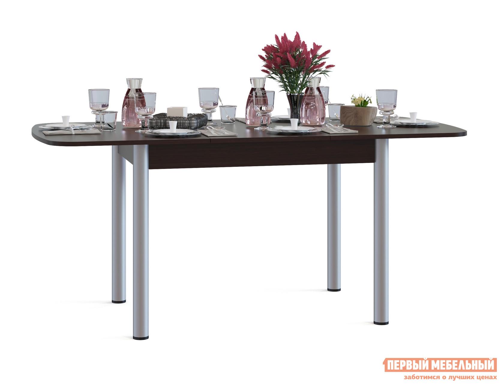 Кухонный стол Сокол СО-3м ВенгеКухонные столы<br>Габаритные размеры ВхШхГ 756x1200 / 1646x800 мм. Овальный раскладной обеденный стол на металлических ножках.  Идеальный вариант для кухни как дома, так и на даче.  Модель оборудована раздвижным механизмом «бабочка», благодаря которому, за счет дополнительной вставки размером 446 мм, ширина столешницы увеличивается до 1646 мм.  В сложенном состоянии вставка хранится в столе.  Чтобы разложить стол, нужно раздвинуть столешницу в стороны, достать вставку и раскрыть ее между частями столешницами. Изделие изготавливается из ЛДСП толщиной 16 мм. Столешница обработана кромкой ПВХ толщиной 2 мм, остальные детали в кромке ПВХ 0,4 мм. Рекомендуем сохранить инструкцию по сборке (паспорт изделия) до истечения гарантийного срока.<br><br>Цвет: Венге<br>Цвет: Венге<br>Высота мм: 756<br>Ширина мм: 1200 / 1646<br>Глубина мм: 800<br>Кол-во упаковок: 1<br>Форма поставки: В разобранном виде<br>Срок гарантии: 2 года<br>Тип: Раздвижные, Трансформер<br>Материал: Деревянные, из ЛДСП<br>Форма: Овальные<br>Размер: Большие<br>Особенности: С металлическими ножками