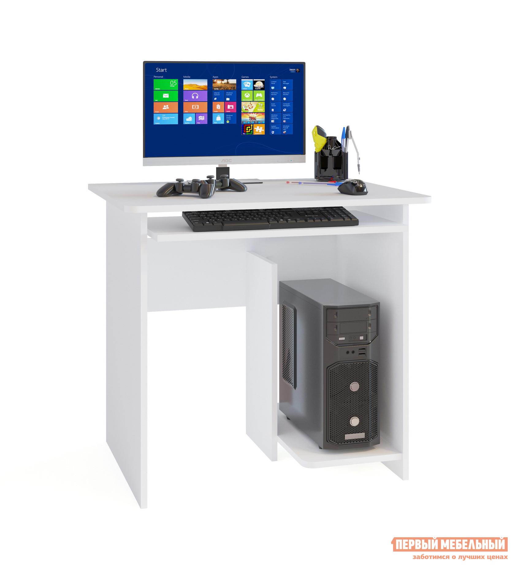 Компьютерный стол Сокол КСТ-21.1 БелыйКомпьютерные столы<br>Габаритные размеры ВхШхГ 740x800x600 мм. Стильный компактный компьютерный стол идеально подойдет для небольшой комнаты.  Лаконичные формы и белый цвет исполнения делает стол универсальным для любого интерьера. Размеры столешницы — 800 х 600 мм — позволяют установить монитор любой диагонали.  Стол оборудован выдвижной полкой для клавиатуры, а в основании с правой стороны расположена ниша под системный блок. Обратите внимание! Стол изготавливается только так, как показано на изображении — системный блок справа. Производится из ЛДСП толщиной 16 мм, края обработаны кромкой ПВХ 0,4 мм.<br><br>Цвет: Белый<br>Цвет: Белый<br>Высота мм: 740<br>Ширина мм: 800<br>Глубина мм: 600<br>Кол-во упаковок: 1<br>Форма поставки: В разобранном виде<br>Срок гарантии: 3 года<br>Тип: Прямые<br>Материал: Деревянные, из ЛДСП<br>Размер: Маленькие, Шириной 80 см<br>Особенности: Без надстройки, С полками