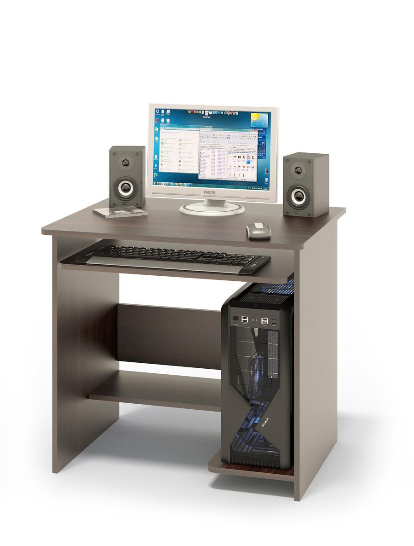 Компьютерный стол Сокол КСТ-01.1В ВенгеКомпьютерные столы<br>Габаритные размеры ВхШхГ 740x800x630 мм. Компактный  компьютерный стол  с выкатной полочкой для клавиатуры, полками для системного блока и принтера. Стол компактный и не занимает много места, при желании к нему можно подобрать стеллаж или тумбу. Размер полки под клавиатуру — 650 х 356 мм. Cтол изготовлен из высококачественного ламинированного ДСП российского производства толщиной  16 мм, столешница имеет скругленные края и отделана противоударным кантом ПВХ. Изделие поставляется в разобранном виде.  Хорошо упаковано в гофротару и снабжено необходимой фурнитурой и инструкцией для сборки.   Рекомендуем сохранить инструкцию по сборке (паспорт изделия) до истечения гарантийного срока.<br><br>Цвет: Венге<br>Цвет: Венге<br>Высота мм: 740<br>Ширина мм: 800<br>Глубина мм: 630<br>Кол-во упаковок: 1<br>Форма поставки: В разобранном виде<br>Срок гарантии: 2 года<br>Тип: Прямые<br>Материал: Деревянные, из ЛДСП<br>Размер: Маленькие, Шириной 80 см<br>Особенности: Без надстройки<br>Стиль: Современный, Модерн