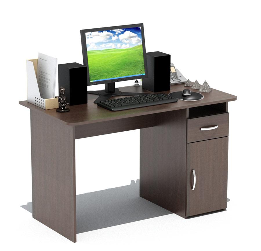 Компьютерный стол Сокол СПМ-03.1В ВенгеКомпьютерные столы<br>Габаритные размеры ВхШхГ 740x1200x600 мм. Классический  письменный стол шириной  1200 мм со встроенной тумбой.   Просторная столешница позволит удобно расположиться за столом и работать с большим объемом документов.  Тумба оснащена  открытой нишей, выдвижным  ящиком и закрытой полкой. Внутренний размер ящика составляет 382 х 223 мм, что позволит разместить в нем документы формата А4, канцелярские принадлежности и необходимые мелочи.  Стол универсален при сборке (вы можете расположить тумбу как справа, так и слева). Стол изготовлен из высококачественного ламинированного ДСП  российского производства толщиной 16мм, края столешницы скруглены и отделаны противоударным кантом ПВХ.  Изделие поставляется в разобранном виде.  Хорошо упаковано в гофротару вместе с необходимой фурнитурой и подробной инструкцией по сборке.   Простой строгий стол прекрасно впишется в интерьер комнаты или офиса.  Рекомендуем сохранить инструкцию по сборке (паспорт изделия) до истечения гарантийного срока.<br><br>Цвет: Венге<br>Цвет: Венге<br>Высота мм: 740<br>Ширина мм: 1200<br>Глубина мм: 600<br>Кол-во упаковок: 1<br>Форма поставки: В разобранном виде<br>Срок гарантии: 2 года<br>Тип: Прямые<br>Материал: Деревянные, из ЛДСП<br>Размер: Большие, Шириной 120 см<br>Особенности: С ящиками, Без надстройки, С тумбой<br>Стиль: Современный, Модерн