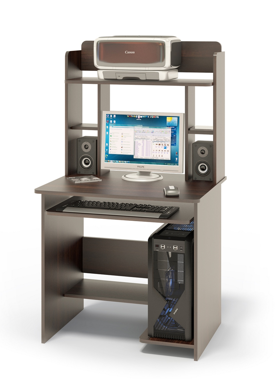 """Компьютерный стол Сокол КСТ-01.1В + КН-12 ВенгеКомпьютерные столы<br>Габаритные размеры ВхШхГ 1420x800x600 мм. Компактный  компьютерный стол  с надстройкой, выкатной полочкой для клавиатуры, позволяющей использовать поверхность стола для работы, полками для системного блока и принтера.   Стол позволит в небольшом пространстве организовать удобное место для работы. Размер полки под клавиатуру — 650 х 356 мм. Размеры верхней полочки в надстройке — 758 х 252 мм. Проем под монитор — 476 х 456 мм (под монитор 20""""). Изготовлен из высококачественного ламинированного ДСП российского производства толщиной  16 мм, столешница имеет скругленные края и отделана противоударным кантом ПВХ. Изделие поставляется в разобранном виде.  Хорошо упаковано вгофротару вместе с необходимой фурнитурой для сборки и подробной инструкцией.  Рекомендуем сохранить инструкцию по сборке (паспорт изделия) до истечения гарантийного срока.<br><br>Цвет: Венге<br>Цвет: Венге<br>Высота мм: 1420<br>Ширина мм: 800<br>Глубина мм: 600<br>Кол-во упаковок: 2<br>Форма поставки: В разобранном виде<br>Срок гарантии: 12 месяцев<br>Тип: Прямые<br>Материал: Деревянные, из ЛДСП<br>Размер: Маленькие<br>Особенности: С надстройкой, С полками"""