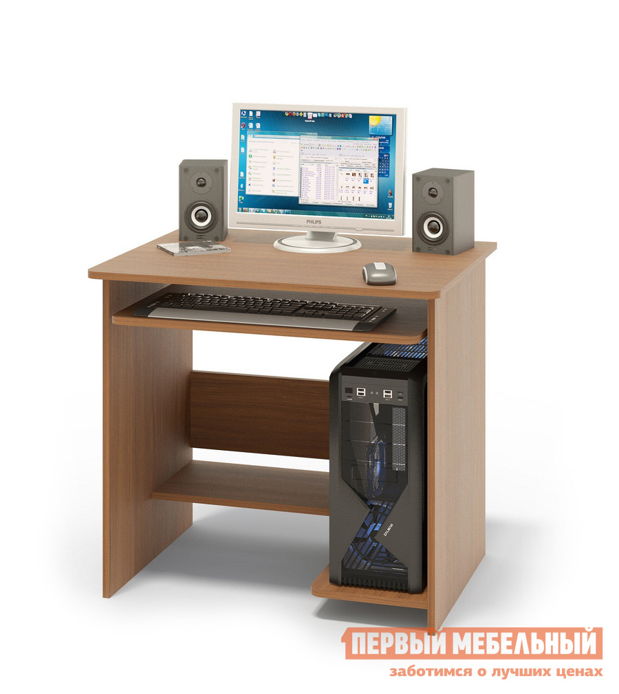Компьютерный стол Сокол КСТ-01.1 Ноче-эккоКомпьютерные столы<br>Габаритные размеры ВхШхГ 740x800x600 мм. Небольшой компьютерный стол с выкатной полочкой для клавиатуры, полками для системного блока и принтера. Стол компактный и не занимает много места, при желании к нему можно подобрать стеллаж или тумбу. Размер полки под клавиатуру — 650 х 356 мм. Cтол изготовлен из высококачественного ламинированного ДСП российского производства толщиной  16 мм, столешница имеет скругленные края и отделана противоударным кантом ПВХ. Изделие поставляется в разобранном виде.  Хорошо упаковано в гофротару и снабжено необходимой фурнитурой и инструкцией для сборки.   Рекомендуем сохранить инструкцию по сборке (паспорт изделия) до истечения гарантийного срока.<br><br>Цвет: Ноче-экко<br>Цвет: Коричневое дерево<br>Высота мм: 740<br>Ширина мм: 800<br>Глубина мм: 600<br>Кол-во упаковок: 1<br>Форма поставки: В разобранном виде<br>Срок гарантии: 2 года<br>Тип: Прямые<br>Материал: Деревянные, из ЛДСП<br>Размер: Маленькие, Шириной 80 см<br>Особенности: Без надстройки, С полками<br>Стиль: Современный, Модерн