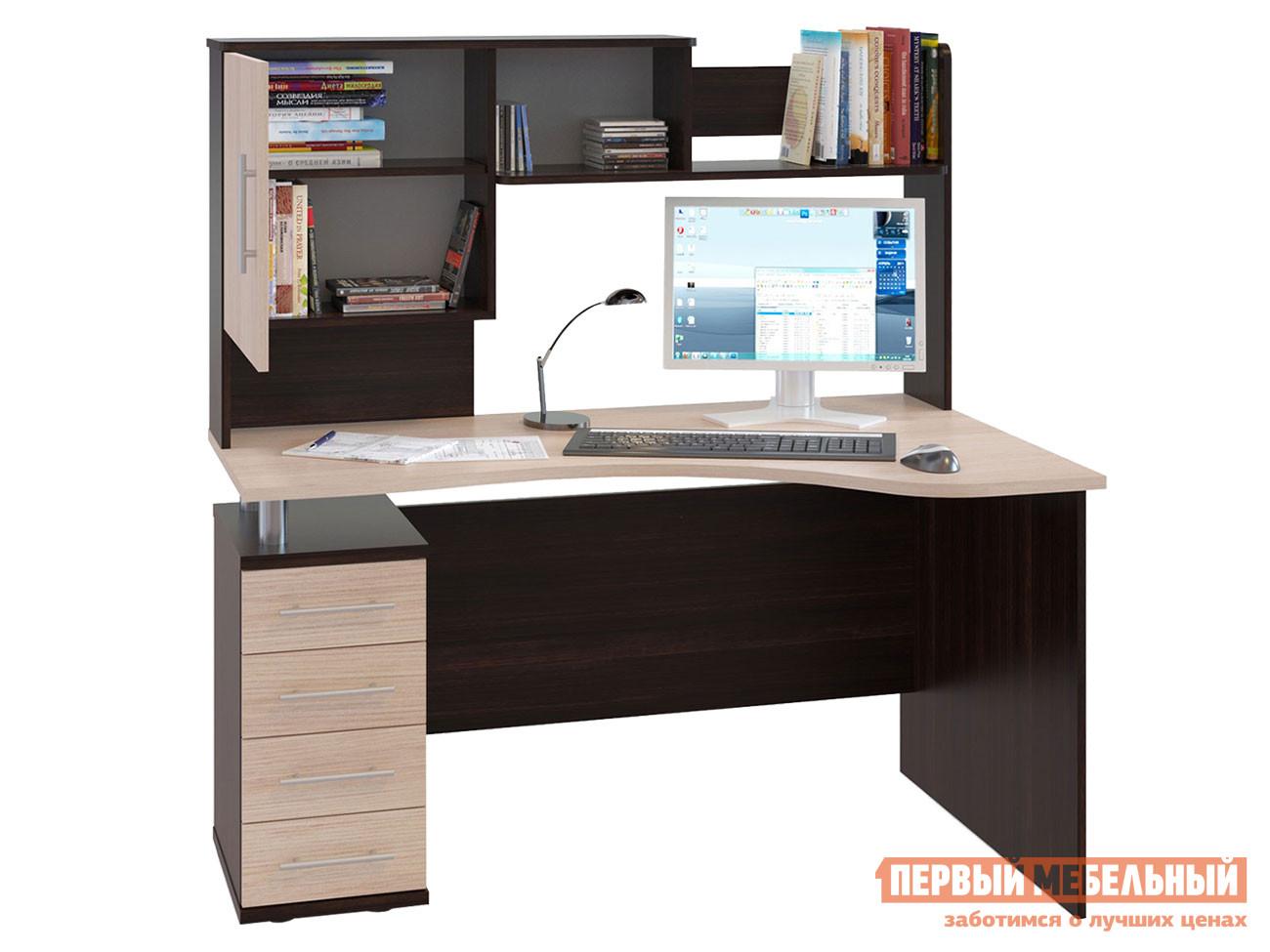 Компьютерный стол  КСТ-104.1 + КН-14 Корпус Венге / Фасад Беленый дуб, Левый Сокол 23247