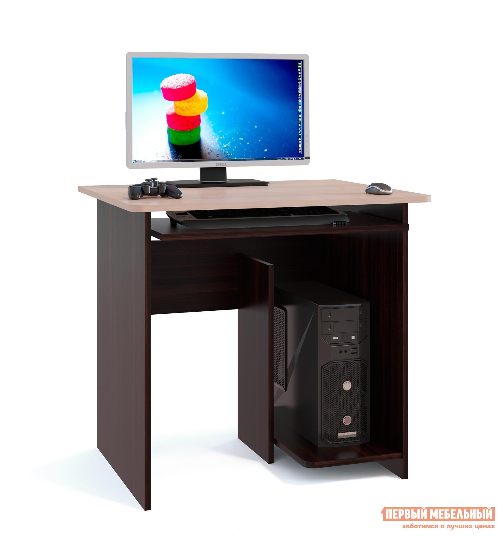 Компьютерный стол Сокол КСТ-21.1 Венге / Беленый дубКомпьютерные столы<br>Габаритные размеры ВхШхГ 740x800x600 мм. Компактный компьютерный стол идеально подойдет для небольшой комнаты.  Лаконичные формы исполнения делают стол универсальным для любого интерьера. Размеры столешницы — 800 х 600 мм — позволяют установить монитор любой диагонали.  Стол оборудован выдвижной полкой для клавиатуры, а в основании с правой стороны расположена ниша под системный блок. Обратите внимание! Стол изготавливается только так, как показано на изображении — системный блок справа. Производится из ЛДСП толщиной 16 мм, края обработаны кромкой ПВХ 0,4 мм.<br><br>Цвет: Темное-cветлое дерево<br>Высота мм: 740<br>Ширина мм: 800<br>Глубина мм: 600<br>Кол-во упаковок: 1<br>Форма поставки: В разобранном виде<br>Срок гарантии: 2 года<br>Тип: Прямые<br>Материал: Дерево<br>Материал: ЛДСП<br>Размер: Маленькие<br>Размер: Ширина 80 см<br>Без надстройки: Да<br>С полками: Да