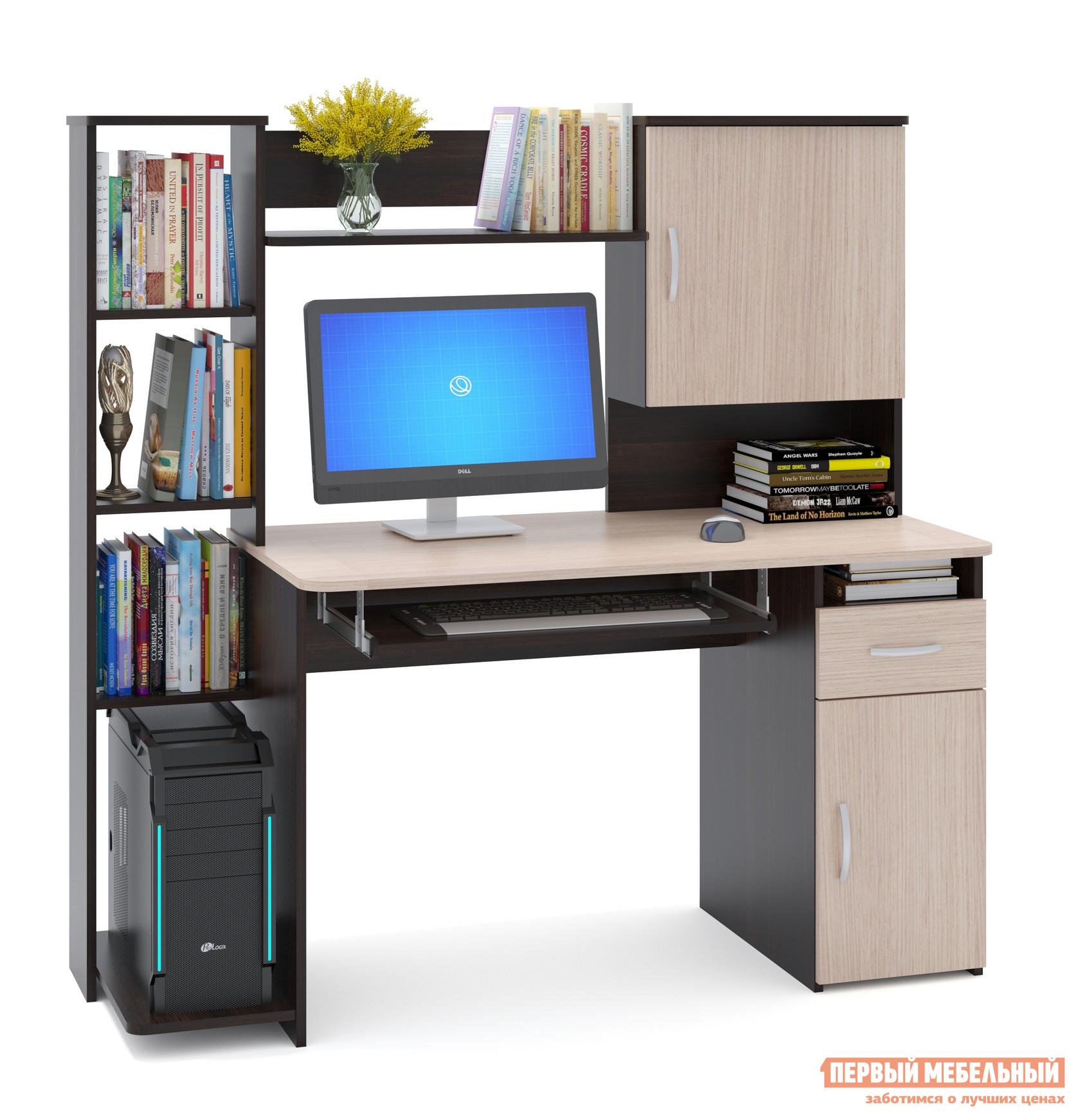 """Компьютерный стол Сокол КСТ-11.1 Корпус Венге / Фасад Беленый дубКомпьютерные столы<br>Габаритные размеры ВхШхГ 1444x1486x600 мм. Удобный компьютерный стол с большим количеством полок.  Такое решение прекрасно подойдет для организации места для учебы.  В боковом стеллаже на нижней полке можно удобно разместить системный блок.  За распашными дверками также находятся полки.  Стол оборудован выдвижным ящиком и полкой для клавиатуры, которую можно не устанавливать, если вы планируете работать за ноутбуком. Высота полки под системный блок – 404 мм, Проем под монитор — 442 х 688 мм (под монитор 20""""). Изделие универсальное при сборке - блок со стеллажом и блок с закрытыми полками можно расположить с любой стороны. Столешница изготовлена из ЛДСП отечественного производства толщиной 16 мм, отделана кромкой ПВХ 2 мм.  Рекомендуем сохранить инструкцию по сборке (паспорт изделия) до истечения гарантийного срока.<br><br>Цвет: Корпус Венге / Фасад Беленый дуб<br>Цвет: Темное-cветлое дерево<br>Высота мм: 1444<br>Ширина мм: 1486<br>Глубина мм: 600<br>Кол-во упаковок: 2<br>Форма поставки: В разобранном виде<br>Срок гарантии: 2 года<br>Тип: Прямые<br>Материал: Деревянные, из ЛДСП<br>Размер: Большие<br>Особенности: С надстройкой, С тумбой, С полками"""