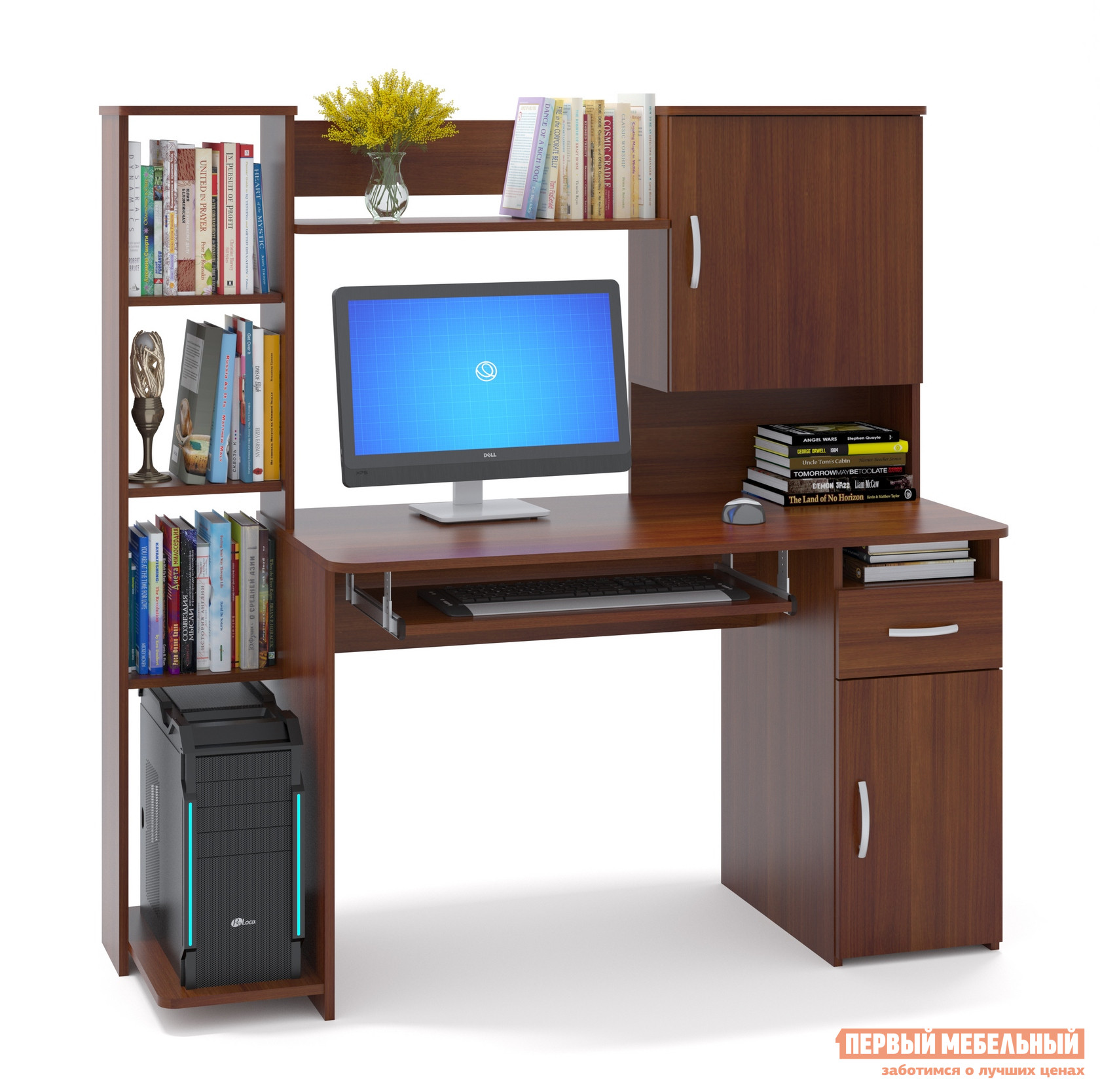 """Компьютерный стол Сокол КСТ-11.1 Испанский орехКомпьютерные столы<br>Габаритные размеры ВхШхГ 1444x1486x600 мм. Удобный компьютерный стол с большим количеством полок.  Такое решение прекрасно подойдет для организации места для учебы.  В боковом стеллаже на нижней полке можно удобно разместить системный блок.  За распашными дверками также находятся полки.  Стол оборудован выдвижным ящиком и полкой для клавиатуры, которую можно не устанавливать, если вы планируете работать за ноутбуком. Высота полки под системный блок – 404 мм, Проем под монитор — 442 х 688 мм (под монитор 20""""). Изделие универсальное при сборке - блок со стеллажом и блок с закрытыми полками можно расположить с любой стороны. Столешница изготовлена из ЛДСП отечественного производства толщиной 16 мм, отделана кромкой ПВХ 2 мм.  Рекомендуем сохранить инструкцию по сборке (паспорт изделия) до истечения гарантийного срока.<br><br>Цвет: Красное дерево<br>Высота мм: 1444<br>Ширина мм: 1486<br>Глубина мм: 600<br>Кол-во упаковок: 2<br>Форма поставки: В разобранном виде<br>Срок гарантии: 2 года<br>Тип: Прямые<br>Материал: Дерево<br>Материал: ЛДСП<br>Размер: Большие<br>С надстройкой: Да<br>С тумбой: Да<br>С полками: Да"""