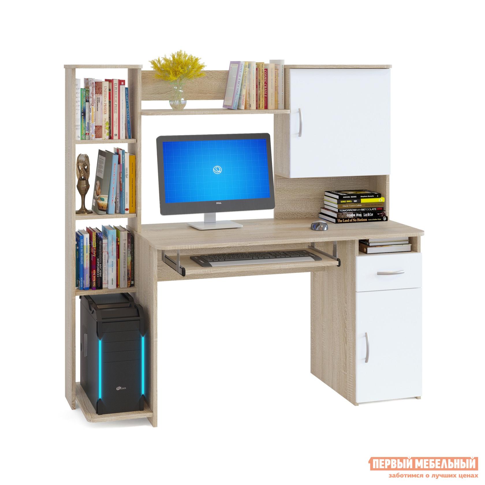 """Компьютерный стол Сокол КСТ-11.1 Дуб Сонома / БелыйКомпьютерные столы<br>Габаритные размеры ВхШхГ 1444x1486x600 мм. Удобный компьютерный стол с большим количеством полок.  Такое решение прекрасно подойдет для организации места для учебы.  В боковом стеллаже на нижней полке можно удобно разместить системный блок.  За распашными дверками также находятся полки.  Стол оборудован выдвижным ящиком и полкой для клавиатуры, которую можно не устанавливать, если вы планируете работать за ноутбуком. Высота полки под системный блок – 404 мм, Проем под монитор — 442 х 688 мм (под монитор 20""""). Изделие универсальное при сборке - блок со стеллажом и блок с закрытыми полками можно расположить с любой стороны. Столешница изготовлена из ЛДСП отечественного производства толщиной 16 мм, отделана кромкой ПВХ 2 мм.  Рекомендуем сохранить инструкцию по сборке (паспорт изделия) до истечения гарантийного срока.<br><br>Цвет: Белый<br>Цвет: Светлое дерево<br>Высота мм: 1444<br>Ширина мм: 1486<br>Глубина мм: 600<br>Кол-во упаковок: 2<br>Форма поставки: В разобранном виде<br>Срок гарантии: 2 года<br>Тип: Прямые<br>Материал: Дерево<br>Материал: ЛДСП<br>Размер: Большие<br>С надстройкой: Да<br>С тумбой: Да<br>С полками: Да"""