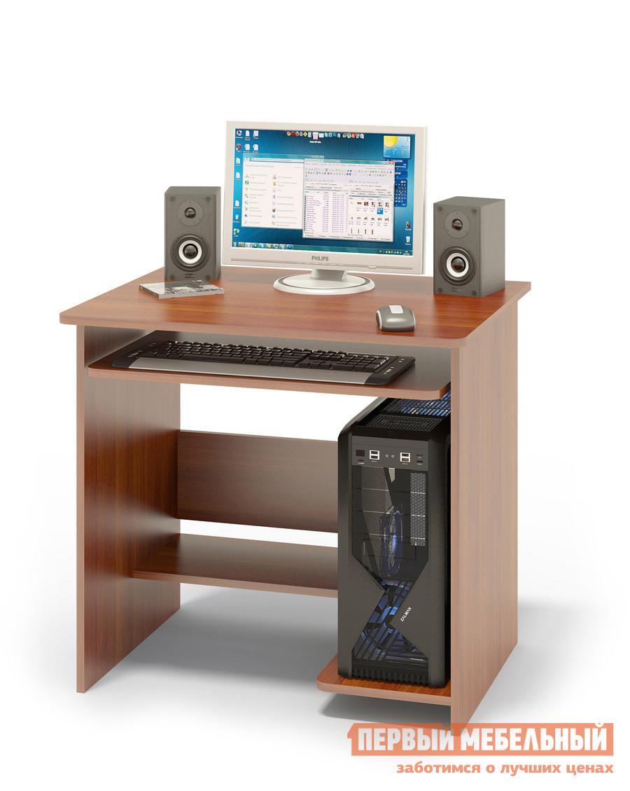 Компьютерный стол Сокол КСТ-01.1 Испанский орехКомпьютерные столы<br>Габаритные размеры ВхШхГ 740x800x600 мм. Небольшой компьютерный стол с выкатной полочкой для клавиатуры, полками для системного блока и принтера. Стол компактный и не занимает много места, при желании к нему можно подобрать стеллаж или тумбу. Размер полки под клавиатуру — 650 х 356 мм. Cтол изготовлен из высококачественного ламинированного ДСП российского производства толщиной  16 мм, столешница имеет скругленные края и отделана противоударным кантом ПВХ. Изделие поставляется в разобранном виде.  Хорошо упаковано в гофротару и снабжено необходимой фурнитурой и инструкцией для сборки.   Рекомендуем сохранить инструкцию по сборке (паспорт изделия) до истечения гарантийного срока.<br><br>Цвет: Красное дерево<br>Высота мм: 740<br>Ширина мм: 800<br>Глубина мм: 600<br>Кол-во упаковок: 1<br>Форма поставки: В разобранном виде<br>Срок гарантии: 2 года<br>Тип: Прямые<br>Материал: Дерево<br>Материал: ЛДСП<br>Размер: Маленькие<br>Размер: Ширина 80 см<br>Без надстройки: Да<br>С полками: Да<br>Стиль: Современный<br>Стиль: Модерн