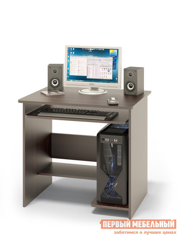 Компьютерный стол Сокол КСТ-01.1 ВенгеКомпьютерные столы<br>Габаритные размеры ВхШхГ 740x800x600 мм. Небольшой компьютерный стол с выкатной полочкой для клавиатуры, полками для системного блока и принтера. Стол компактный и не занимает много места, при желании к нему можно подобрать стеллаж или тумбу. Размер полки под клавиатуру — 650 х 356 мм. Cтол изготовлен из высококачественного ламинированного ДСП российского производства толщиной  16 мм, столешница имеет скругленные края и отделана противоударным кантом ПВХ. Изделие поставляется в разобранном виде.  Хорошо упаковано в гофротару и снабжено необходимой фурнитурой и инструкцией для сборки.   Рекомендуем сохранить инструкцию по сборке (паспорт изделия) до истечения гарантийного срока.<br><br>Цвет: Венге<br>Высота мм: 740<br>Ширина мм: 800<br>Глубина мм: 600<br>Кол-во упаковок: 1<br>Форма поставки: В разобранном виде<br>Срок гарантии: 2 года<br>Тип: Прямые<br>Материал: Дерево<br>Материал: ЛДСП<br>Размер: Маленькие<br>Размер: Ширина 80 см<br>Без надстройки: Да<br>С полками: Да<br>Стиль: Современный<br>Стиль: Модерн