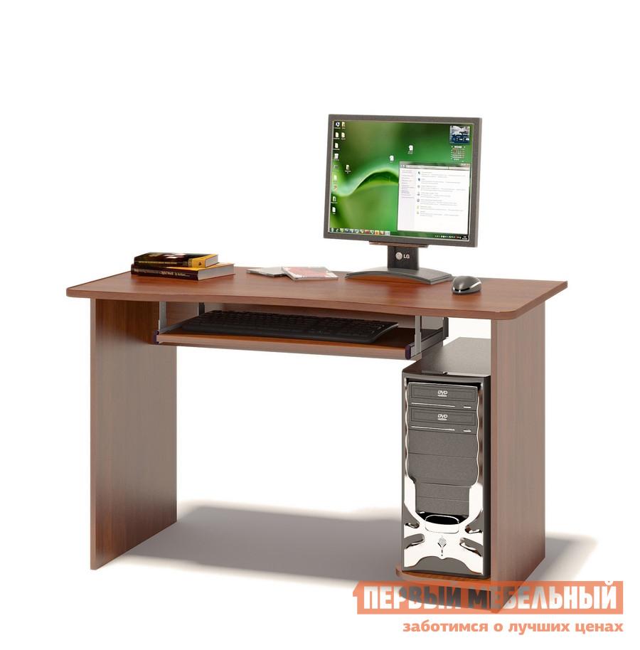 Компьютерный стол Сокол КСТ-04.1 Испанский орехКомпьютерные столы<br>Габаритные размеры ВхШхГ 740x1200x600 мм. Вместительный компьютерный стол подходит как для учебы, так и для работы.  Размер столешницы позволяет разместить не только монитор, но и оставить место для занятий школьника или студента.  стол оборудован выкатной полочкой для клавиатуры (650 х 356 мм), а также полкой под системный блок.  Обратите внимание! Стол универсальный по сборке: полка под системный блок может располагаться как справа, так и слева. Изделие поставляется в разобранном виде.  Хорошо упаковано в гофротару вместе с необходимой фурнитурой для сборки и подробной инструкцией.  Рекомендуем сохранить инструкцию по сборке (паспорт изделия) до истечения гарантийного срока.<br><br>Цвет: Красное дерево<br>Высота мм: 740<br>Ширина мм: 1200<br>Глубина мм: 600<br>Кол-во упаковок: 1<br>Форма поставки: В разобранном виде<br>Срок гарантии: 2 года<br>Тип: Прямые<br>Материал: Дерево<br>Материал: ЛДСП<br>Размер: Большие<br>Размер: Ширина 120 см<br>Без надстройки: Да<br>Стиль: Современный<br>Стиль: Модерн