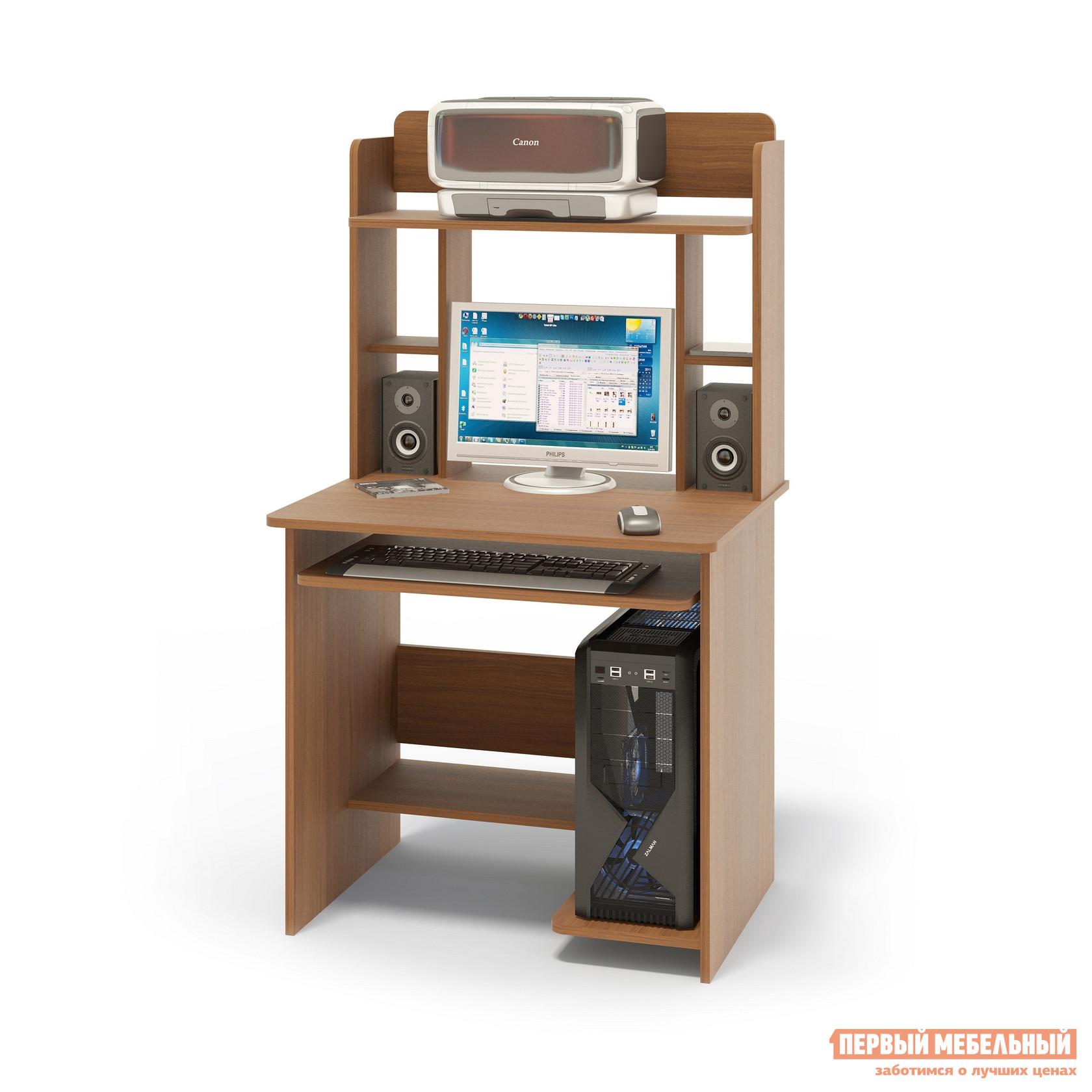 """Компьютерный стол Сокол КСТ-01.1+КН-12 Ноче-эккоКомпьютерные столы<br>Габаритные размеры ВхШхГ 1420x800x600 мм. Компактный  компьютерный стол  с надстройкой, выкатной полочкой для клавиатуры, позволяющей использовать поверхность стола для работы, полками для системного блока и принтера.   Стол позволит в небольшом пространстве организовать удобное место для работы. Размеры стола — 740 х 800 х 600 ммРазмер полки под клавиатуру — 650 х 356 мм. Размеры верхней полочки в надстройке — 758 х 252 мм. Проем под монитор — 476 х 456 мм (под монитор 20""""). Изготовлен из высококачественного ламинированного ДСП российского производства толщиной  16 мм, столешница имеет скругленные края и отделана противоударным кантом ПВХ. Изделие поставляется в разобранном виде.  Хорошо упаковано вгофротару вместе с необходимой фурнитурой для сборки и подробной инструкцией.  Рекомендуем сохранить инструкцию по сборке (паспорт изделия) до истечения гарантийного срока.<br><br>Цвет: Коричневое дерево<br>Высота мм: 1420<br>Ширина мм: 800<br>Глубина мм: 600<br>Кол-во упаковок: 2<br>Форма поставки: В разобранном виде<br>Срок гарантии: 2 года<br>Тип: Прямые<br>Материал: Дерево<br>Материал: ЛДСП<br>Размер: Маленькие<br>Размер: Ширина 80 см<br>С надстройкой: Да<br>С полками: Да<br>Стиль: Современный<br>Стиль: Модерн"""