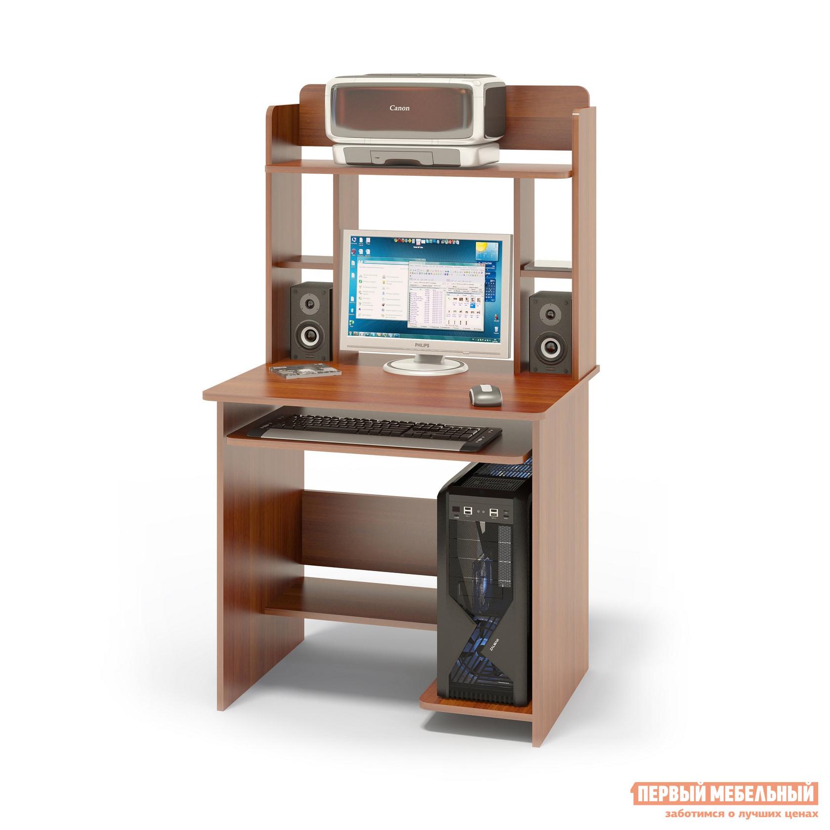 """Компьютерный стол Сокол КСТ-01.1+КН-12 Испанский орехКомпьютерные столы<br>Габаритные размеры ВхШхГ 1420x800x600 мм. Компактный  компьютерный стол  с надстройкой, выкатной полочкой для клавиатуры, позволяющей использовать поверхность стола для работы, полками для системного блока и принтера.   Стол позволит в небольшом пространстве организовать удобное место для работы. Размеры стола — 740 х 800 х 600 ммРазмер полки под клавиатуру — 650 х 356 мм. Размеры верхней полочки в надстройке — 758 х 252 мм. Проем под монитор — 476 х 456 мм (под монитор 20""""). Изготовлен из высококачественного ламинированного ДСП российского производства толщиной  16 мм, столешница имеет скругленные края и отделана противоударным кантом ПВХ. Изделие поставляется в разобранном виде.  Хорошо упаковано вгофротару вместе с необходимой фурнитурой для сборки и подробной инструкцией.  Рекомендуем сохранить инструкцию по сборке (паспорт изделия) до истечения гарантийного срока.<br><br>Цвет: Красное дерево<br>Высота мм: 1420<br>Ширина мм: 800<br>Глубина мм: 600<br>Кол-во упаковок: 2<br>Форма поставки: В разобранном виде<br>Срок гарантии: 2 года<br>Тип: Прямые<br>Материал: Дерево<br>Материал: ЛДСП<br>Размер: Маленькие<br>Размер: Ширина 80 см<br>С надстройкой: Да<br>С полками: Да<br>Стиль: Современный<br>Стиль: Модерн"""