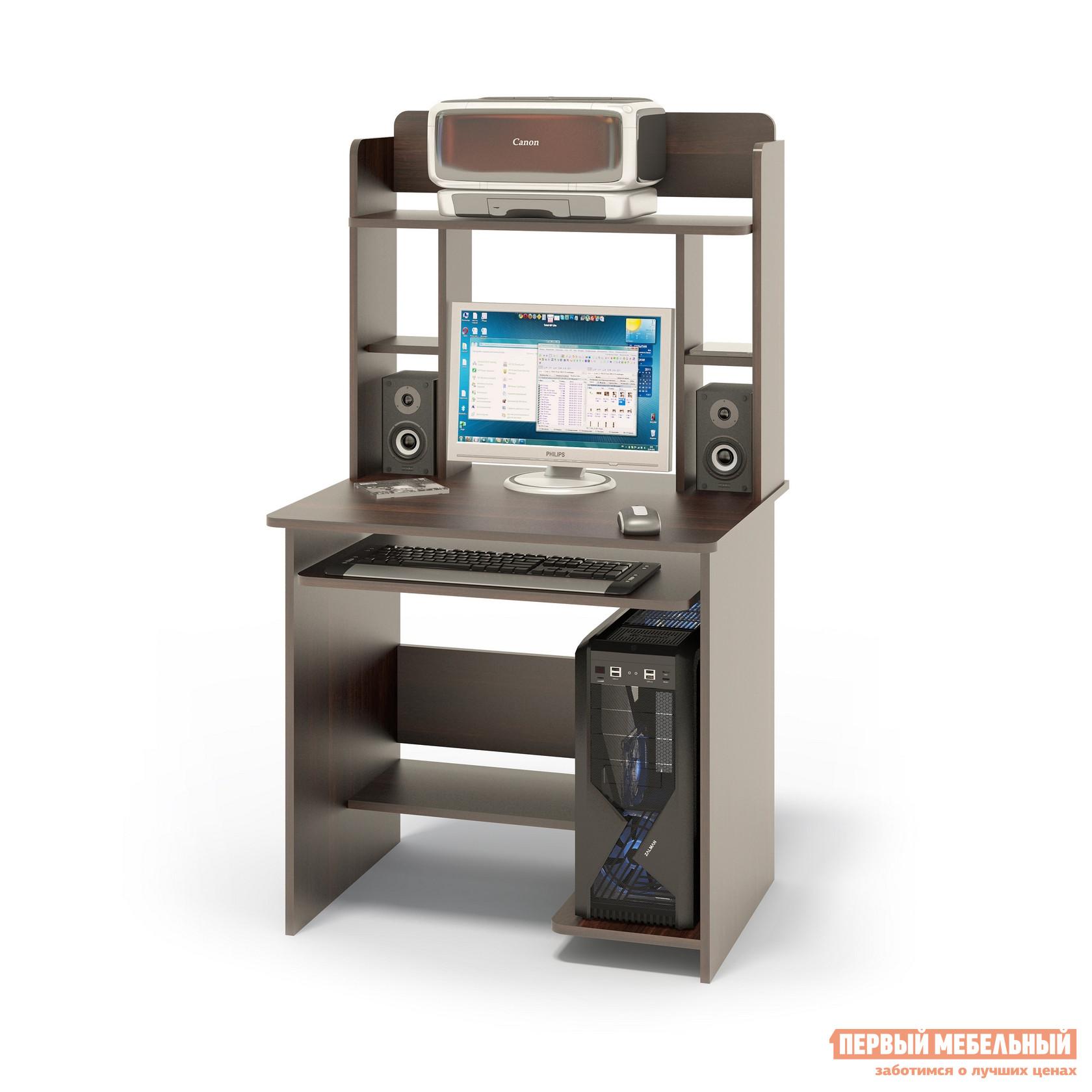 """Компьютерный стол Сокол КСТ-01.1+КН-12 ВенгеКомпьютерные столы<br>Габаритные размеры ВхШхГ 1420x800x600 мм. Компактный  компьютерный стол  с надстройкой, выкатной полочкой для клавиатуры, позволяющей использовать поверхность стола для работы, полками для системного блока и принтера.   Стол позволит в небольшом пространстве организовать удобное место для работы. Размеры стола — 740 х 800 х 600 ммРазмер полки под клавиатуру — 650 х 356 мм. Размеры верхней полочки в надстройке — 758 х 252 мм. Проем под монитор — 476 х 456 мм (под монитор 20""""). Изготовлен из высококачественного ламинированного ДСП российского производства толщиной  16 мм, столешница имеет скругленные края и отделана противоударным кантом ПВХ. Изделие поставляется в разобранном виде.  Хорошо упаковано вгофротару вместе с необходимой фурнитурой для сборки и подробной инструкцией.  Рекомендуем сохранить инструкцию по сборке (паспорт изделия) до истечения гарантийного срока.<br><br>Цвет: Венге<br>Цвет: Венге<br>Высота мм: 1420<br>Ширина мм: 800<br>Глубина мм: 600<br>Кол-во упаковок: 2<br>Форма поставки: В разобранном виде<br>Срок гарантии: 2 года<br>Тип: Прямые<br>Материал: Деревянные, из ЛДСП<br>Размер: Маленькие, Шириной 80 см<br>Особенности: С надстройкой, С полками<br>Стиль: Современный, Модерн"""