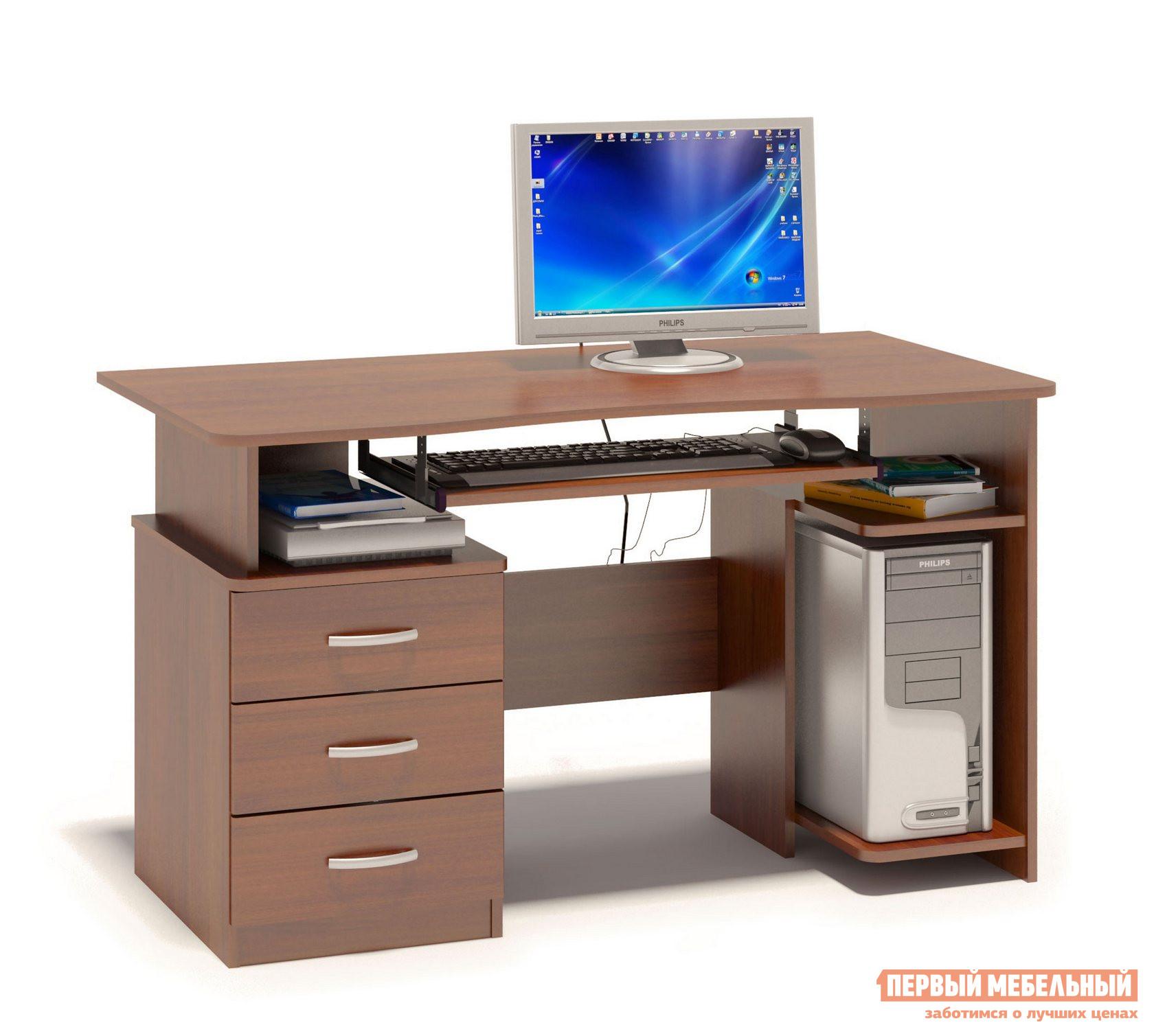 Компьютерный стол Сокол КСТ-08.1 Испанский орехКомпьютерные столы<br>Габаритные размеры ВхШхГ 740x1300x600 мм. Удобный компьютерный стол.  Столешница имеет анатомическую форму, она изготовлена из высококачественного ДСП отечественного производства толщиной 16 мм, отделана противоударной кромкой ПВХ.  Стол оснащен тумбой с тремя ящиками и полкой под системный блок.  Полочка под клавиатуру имеет размеры 650 х 356 мм. Внутренний размер ящиков составляет 476 х 310 мм, что позволит разместить в них документы формата А4, канцелярские принадлежности и необходимые мелочи. Стол универсальный и может быть собран как в правом, так и в левом исполнении (зависит от расположения системного блока). Изделие поставляется в разобранном виде.  Хорошо упаковано вгофротару вместе с необходимой фурнитурой для сборки и подробной инструкцией.  Рекомендуем сохранить инструкцию по сборке (паспорт изделия) до истечения гарантийного срока.<br><br>Цвет: Красное дерево<br>Высота мм: 740<br>Ширина мм: 1300<br>Глубина мм: 600<br>Кол-во упаковок: 1<br>Форма поставки: В разобранном виде<br>Срок гарантии: 2 года<br>Тип: Прямые<br>Материал: Дерево<br>Материал: ЛДСП<br>Размер: Большие<br>Размер: Ширина 130 см<br>С ящиками: Да<br>Без надстройки: Да<br>С тумбой: Да<br>Стиль: Современный<br>Стиль: Модерн