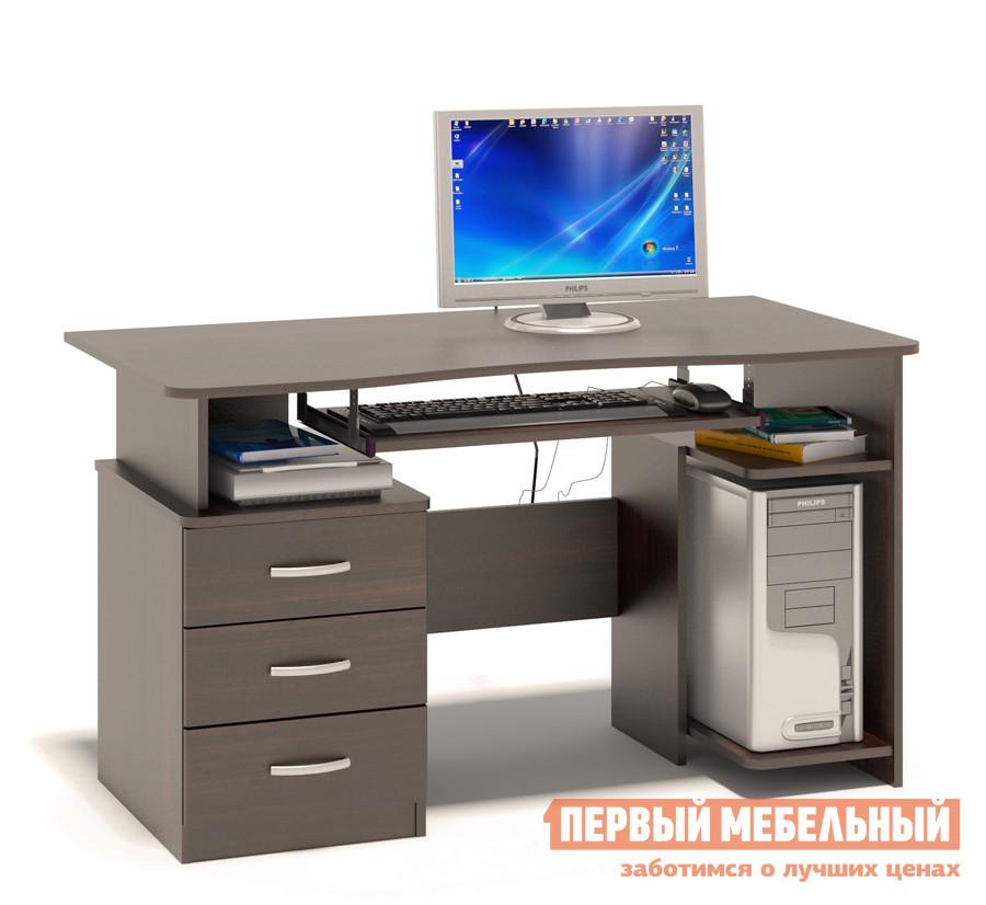 Компьютерный стол Сокол КСТ-08.1 ВенгеКомпьютерные столы<br>Габаритные размеры ВхШхГ 740x1300x600 мм. Удобный компьютерный стол.  Столешница имеет анатомическую форму, она изготовлена из высококачественного ДСП отечественного производства толщиной 16 мм, отделана противоударной кромкой ПВХ.  Стол оснащен тумбой с тремя ящиками и полкой под системный блок.  Полочка под клавиатуру имеет размеры 650 х 356 мм. Внутренний размер ящиков составляет 476 х 310 мм, что позволит разместить в них документы формата А4, канцелярские принадлежности и необходимые мелочи. Стол универсальный и может быть собран как в правом, так и в левом исполнении (зависит от расположения системного блока). Изделие поставляется в разобранном виде.  Хорошо упаковано вгофротару вместе с необходимой фурнитурой для сборки и подробной инструкцией.  Рекомендуем сохранить инструкцию по сборке (паспорт изделия) до истечения гарантийного срока.<br><br>Цвет: Венге<br>Высота мм: 740<br>Ширина мм: 1300<br>Глубина мм: 600<br>Кол-во упаковок: 1<br>Форма поставки: В разобранном виде<br>Срок гарантии: 2 года<br>Тип: Прямые<br>Материал: Дерево<br>Материал: ЛДСП<br>Размер: Большие<br>Размер: Ширина 130 см<br>С ящиками: Да<br>Без надстройки: Да<br>С тумбой: Да<br>Стиль: Современный<br>Стиль: Модерн