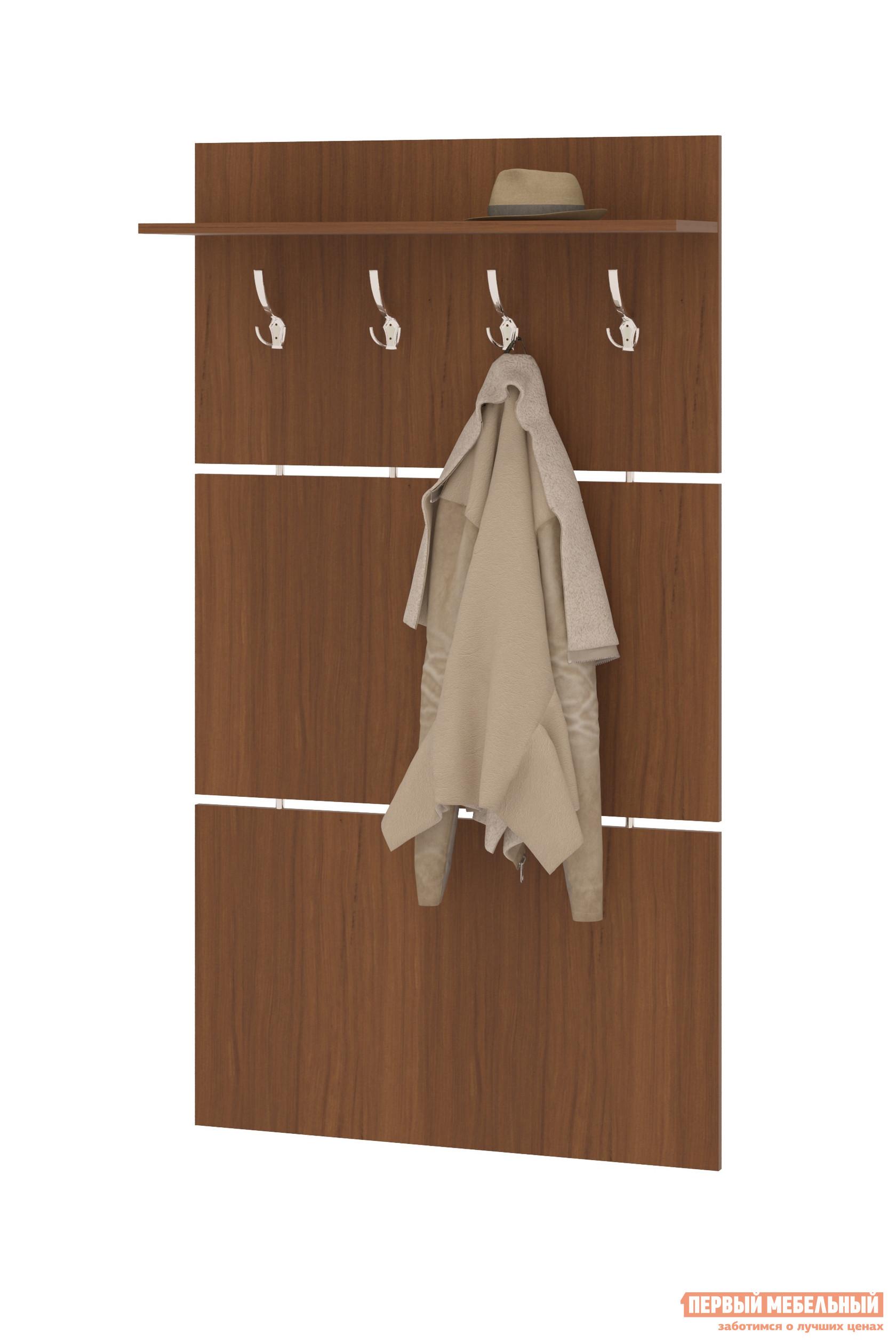 Настенная вешалка Сокол ВШ-3 Ноче-эккоНастенные вешалки<br>Габаритные размеры ВхШхГ 1586x900x216 мм. Широкая навесная вешалка, выполненная в строгом стиле, позволит разместить сезонную одежду всей семьи.  Вешалка состоит из 3-х панелей соединенных металлическими  вставками.  На верхней панели располагается четыре 3-хрожковых крючка для одежды. Полка, закрепленная над крючками, предназначена специально для головных уборов и зонтов.  Максимальная нагрузка на полку составляет 5 кг. Вешалка изготовлена из высококачественной ДСП 16 мм, края отделаны кромкой ПВХ 0. 4 мм.  Рекомендуем сохранить инструкцию по сборке (паспорт изделия) до истечения гарантийного срока.<br><br>Цвет: Ноче-экко<br>Цвет: Коричневое дерево<br>Высота мм: 1586<br>Ширина мм: 900<br>Глубина мм: 216<br>Кол-во упаковок: 1<br>Форма поставки: В разобранном виде<br>Срок гарантии: 2 года<br>Материал: Деревянные<br>Особенности: С полкой