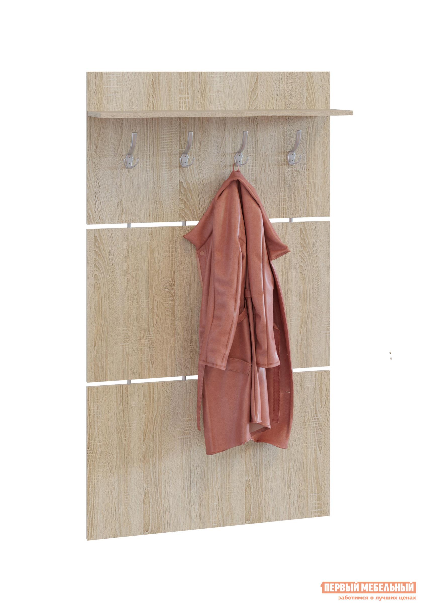 Настенная вешалка Сокол ВШ-3.1 Дуб сономаНастенные вешалки<br>Габаритные размеры ВхШхГ 1460x900x212 мм. Широкая навесная вешалка, выполненная в строгом стиле, позволит разместить сезонную одежду всей семьи.  Вешалка состоит из 3-х панелей соединенных металлическими  вставками.  На верхней панели располагается четыре 3-хрожковых крючка для одежды. Полка, закрепленная над крючками, предназначена специально для головных уборов и зонтов.  Максимальная нагрузка на полку составляет 5кг. Вешалка изготовлена из высококачественной ДСП 16мм, края отделаны кромкой ПВХ 0. 4мм.  Рекомендуем сохранить инструкцию по сборке (паспорт изделия) до истечения гарантийного срока.<br><br>Цвет: Дуб сонома<br>Цвет: Светлое дерево<br>Высота мм: 1460<br>Ширина мм: 900<br>Глубина мм: 212<br>Кол-во упаковок: 1<br>Форма поставки: В разобранном виде<br>Срок гарантии: 2 года<br>Материал: Деревянные<br>Особенности: С полкой