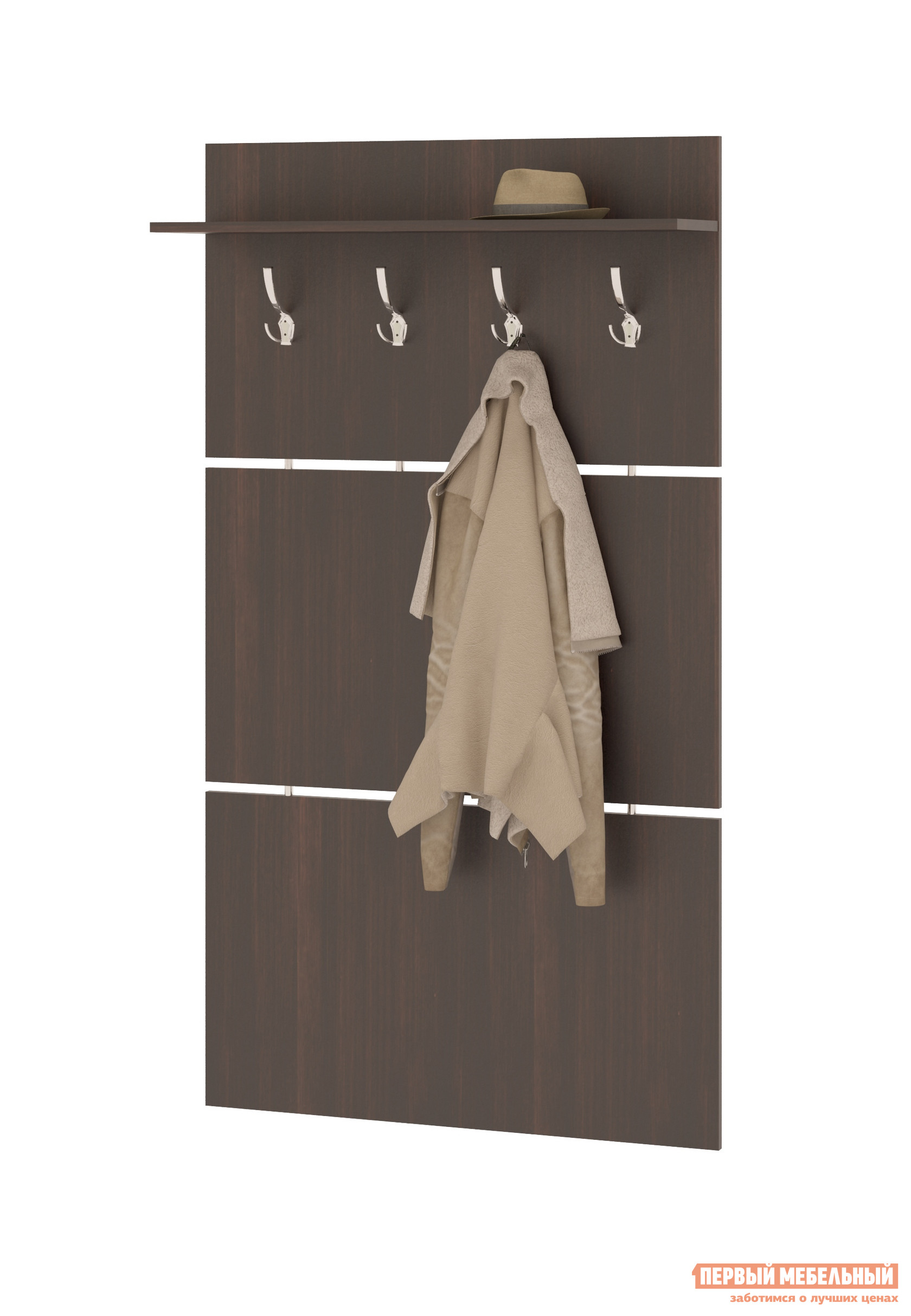 Настенная вешалка Сокол ВШ-3.1 ВенгеНастенные вешалки<br>Габаритные размеры ВхШхГ 1460x900x212 мм. Широкая навесная вешалка, выполненная в строгом стиле, позволит разместить сезонную одежду всей семьи.  Вешалка состоит из 3-х панелей соединенных металлическими  вставками.  На верхней панели располагается четыре 3-хрожковых крючка для одежды. Полка, закрепленная над крючками, предназначена специально для головных уборов и зонтов.  Максимальная нагрузка на полку составляет 5кг. Вешалка изготовлена из высококачественной ДСП 16мм, края отделаны кромкой ПВХ 0. 4мм.  Рекомендуем сохранить инструкцию по сборке (паспорт изделия) до истечения гарантийного срока.<br><br>Цвет: Венге<br>Высота мм: 1460<br>Ширина мм: 900<br>Глубина мм: 212<br>Кол-во упаковок: 1<br>Форма поставки: В разобранном виде<br>Срок гарантии: 2 года<br>Материал: Дерево<br>С полкой: Да