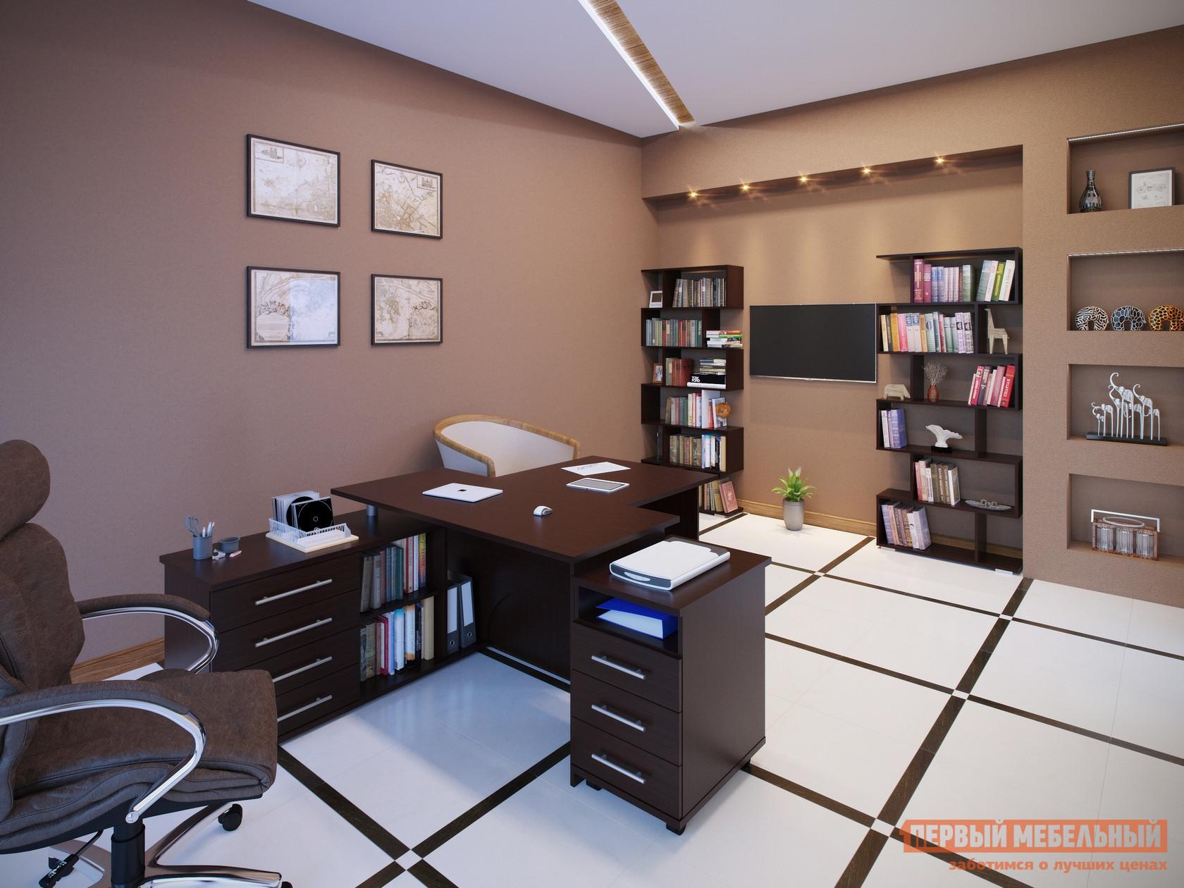 Комплект офисной мебели Сокол Сокол Р Венге ВенгеКомплекты офисной мебели<br>Габаритные размеры ВхШхГ xx мм. Стильный и функциональный комплект мебели «Сокол Р К1 Венге» для меблировки кабинета руководителя.  Набор сочетает в себе все необходимые модули для создания удобной и практичной обстановки в офисе.  Такая мебель подчеркнет деловой настрой и статус компании. В стоимость комплекта входят:Угловой письменный стол левый (ВхШхГ): 750 х 1400 х 1270 мм. Стол-приставка (ВхШхГ): 724 х 900 х 800 мм. Тумба с тремя ящиками (ВхШхГ): 674 х 404 х 571 мм. Открытый стеллаж (2 шт. ) (ВхШхГ): 1908 х 800 х 252 мм. При желании комплект можно дополнить другими элементами серии. Мебель изготавливается из ЛДСП толщиной 22 и 16 мм, края обработаны кромкой ПВХ 2 и 0,4 мм.  В ящиках используются роликовые направляющие.<br><br>Цвет: Венге<br>Форма поставки: В разобранном виде<br>Срок гарантии: 2 года<br>Материал: ЛДСП