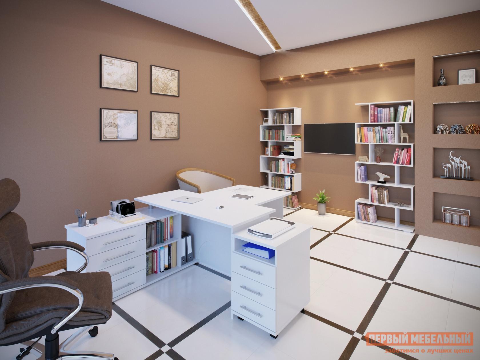 Комплект офисной мебели Сокол Сокол Р Белый Белый