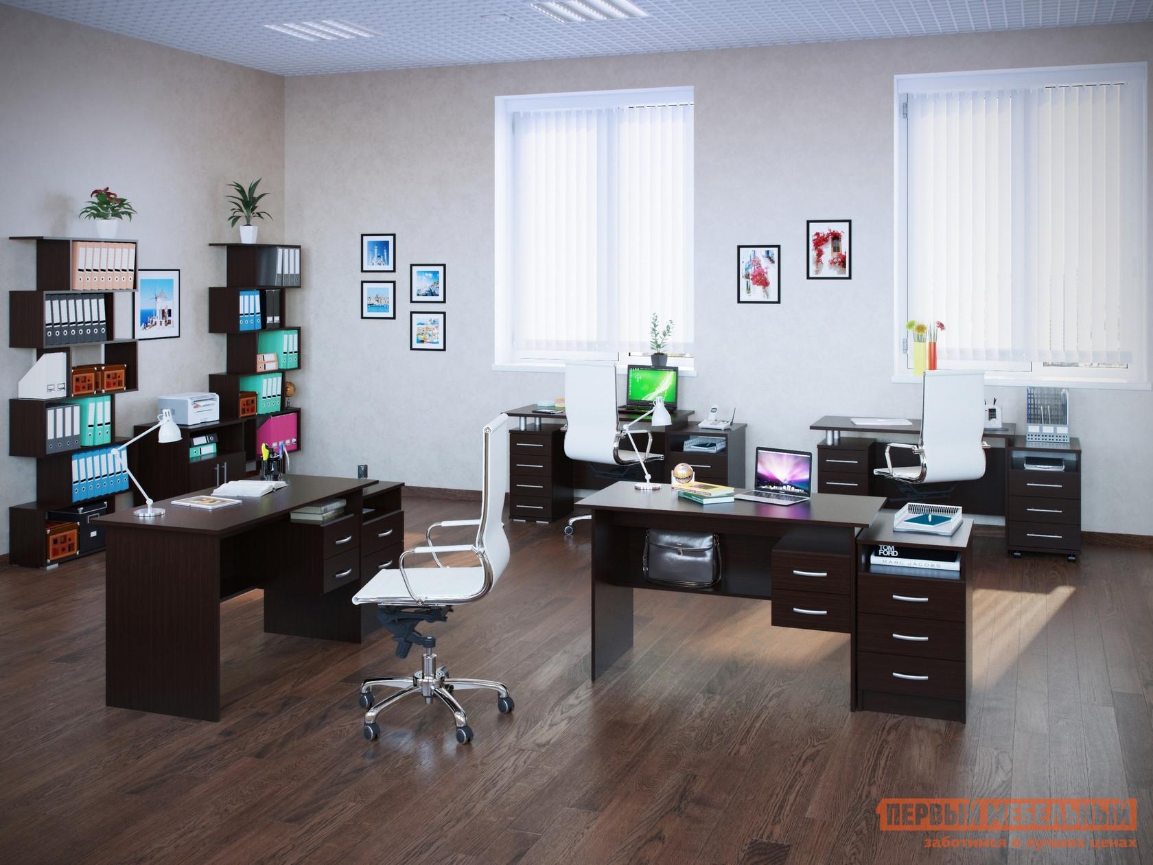 Комплект офисной мебели Сокол Сокол П К3 Венге ВенгеКомплекты офисной мебели<br>Габаритные размеры ВхШхГ xx мм. Функциональный и стильный комплект мебели «Сокол П К3 Венге» для персонала.  Набор рассчитан на четыре рабочих места и включает в себя все необходимые модули для создания удобной и практичной обстановки в офисе. В стоимость комплекта входят:Письменный стол с тумбой (2 шт. )(ВхШхГ): 750 х 1400 х 860 мм. Прямой письменный стол с двумя ящиками (2 шт. ) (ВхШхГ): 740 х 1200 х 600 мм. Мобильная тумба с ящиками (2 шт. ) (ВхШхГ): 674 х 404 х 571 мм. Мобильная тумба для оргтехники (ВхШхГ): 694 х 600 х 446 мм. Приставная тумба с ящиками (2 шт. ) (ВхШхГ): 674 х 404 х 571 мм. Стеллаж открытый (2 шт. ) (ВхШхГ): 1908 х 800 х 252 мм. Мебель изготавливается из ЛДСП толщиной 22 и 16 мм, края обработаны кромкой ПВХ 2 и 0,4 мм.  В ящиках используются роликовые направляющие. Рекомендуем сохранить инструкции по сборке (паспорт изделия) до истечения гарантийного срока.<br><br>Цвет: Венге<br>Цвет: Венге<br>Форма поставки: В разобранном виде<br>Срок гарантии: 2 года
