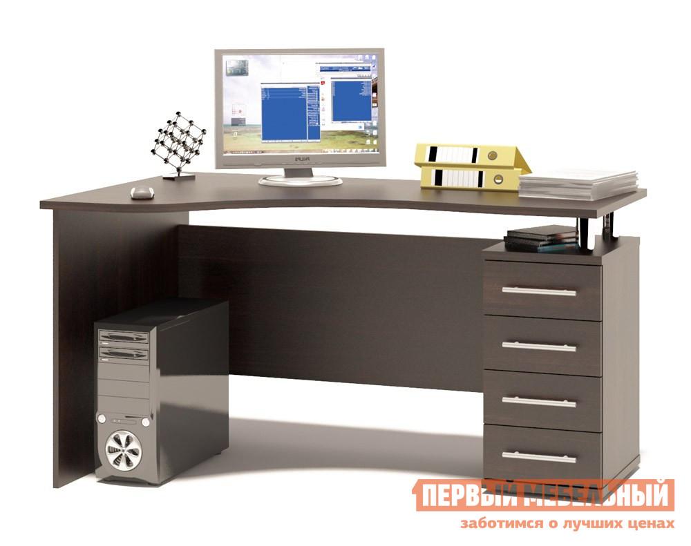 Письменный стол Сокол КСТ-104.1  Венге, ПравыйПисьменные столы для офиса<br>Габаритные размеры ВхШхГ 750x1400x860 мм. Эргономичный компьютерный стол вместе с тумбой с выдвижными ящиками.  Столешница имеет анатомическую форму и изготовлена из высококачественного ДСП отечественного производства толщиной 22 мм, отделана кромкой ПВХ 2 мм.  Стол позволит организовать полноценное и удобное место для работы. Ширина столешницы по узкой стороне — 560 мм. Внутренний размер ящиков составляет 382 х 222 мм, что позволит разместить в них документы формата А4, канцелярские принадлежности и необходимые мелочи. Расстояние между креплениями ручек — 128 мм. Высота от пола до нижнего края задней стенки составляет 156 мм. Обратите внимание! Стол может быть в правостороннем или левостороннем исполнении.  На фото представлен левосторонний стол (ориентация по расположению тумбы). В столешнице есть отверстия для установки надстройки, если стол планируется использовать без надстройки, то отверстия закрываются заглушками (они входят в комплект).  Изделие поставляется в разобранном виде.  Хорошо упаковано вгофротару вместе с необходимой фурнитурой для сборки и подробной инструкцией.  Рекомендуем сохранить инструкцию по сборке (паспорт изделия) до истечения гарантийного срока.<br><br>Цвет: Венге<br>Высота мм: 750<br>Ширина мм: 1400<br>Глубина мм: 860<br>Кол-во упаковок: 2<br>Форма поставки: В разобранном виде<br>Срок гарантии: 2 года<br>Тип: Угловые<br>Материал: Дерево<br>Материал: ЛДСП<br>Размер: Ширина 140 см<br>С ящиками: Да<br>С тумбой: Да