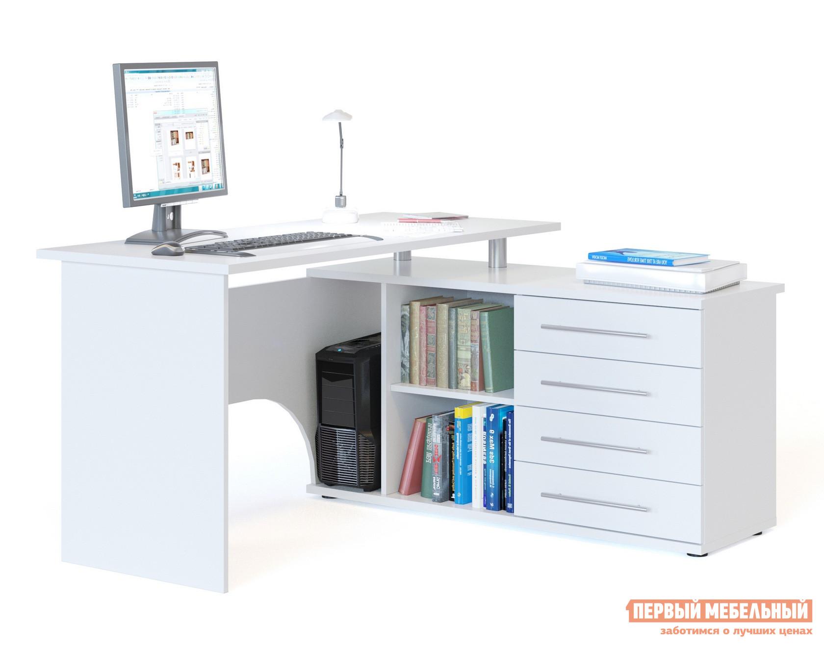 Письменный стол Сокол КСТ-109 Белый, ЛевыйПисьменные столы для офиса<br>Габаритные размеры ВхШхГ 750x1400x1270 мм. Угловой компьютерный стол с двумя рабочими поверхностями.  Основная столешница имеет ширину 1400 мм, позволяя разместить компьютер и рабочие материалы.  На малой столешнице — 1200 мм, удобно держать под рукой книги, папки, канцелярию. Стол оборудован тумбой с четырьмя ящиками, открытыми полками и нишей под системный блок.  Такая модель компьютерного стола позволяет организовать функциональную рабочую зону как в домашнем кабинете, так и в офисе. Особенность модели — задняя стенка из ЛДСП, что позволит расположить стол не только у стены, но и в любом удобном месте, не нарушая интерьерной композиции. Внутренний размер ящиков — 456 х 346 мм. Размер ниши под системный блок (ВхШхГ) — 565 х 220 х 440 мм. Обратите внимание! Стол может быть с правым или левым углом (определяется по расположению тумбы).  При оформлении заказа нужно выбрать необходимую ориентацию. Столешница и основание тумбы выполняются из ЛДСП 22 мм с кромкой ПВХ 2 мм, остальные детали — ЛДСП 16 мм с кромкой ПВХ 0,4 мм.   Рекомендуем сохранить инструкцию по сборке (паспорт изделия) до истечения гарантийного срока.<br><br>Цвет: Белый<br>Высота мм: 750<br>Ширина мм: 1400<br>Глубина мм: 1270<br>Кол-во упаковок: 2<br>Форма поставки: В разобранном виде<br>Срок гарантии: 3 года<br>Тип: Угловые<br>Материал: Дерево<br>Материал: ЛДСП<br>Размер: Большие<br>Размер: Ширина 140 см<br>С ящиками: Да<br>С тумбой: Да<br>С полками: Да
